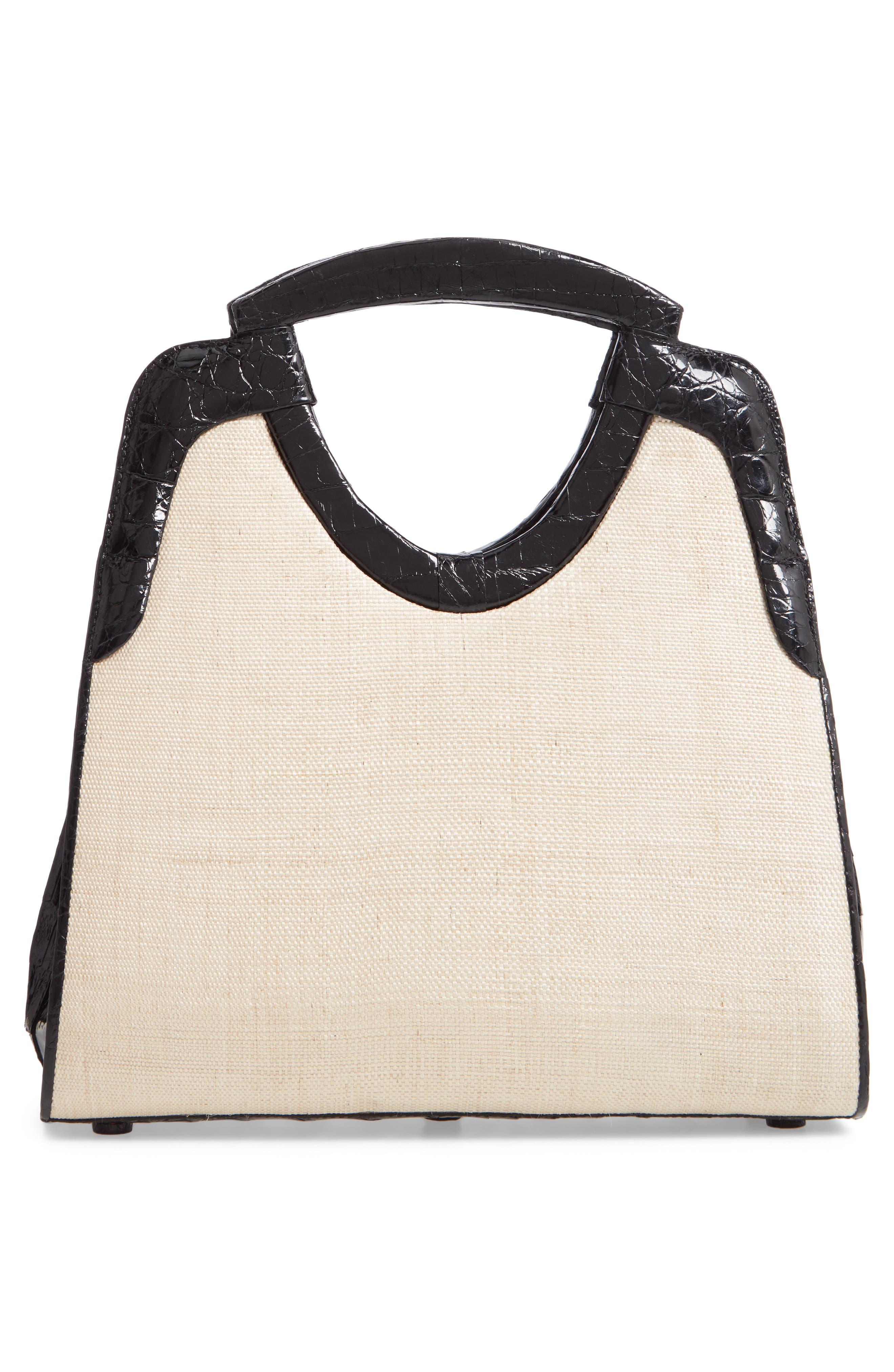 Small Genuine Crocodile Top Handle Bag,                             Alternate thumbnail 3, color,                             BLACK/ STRAW