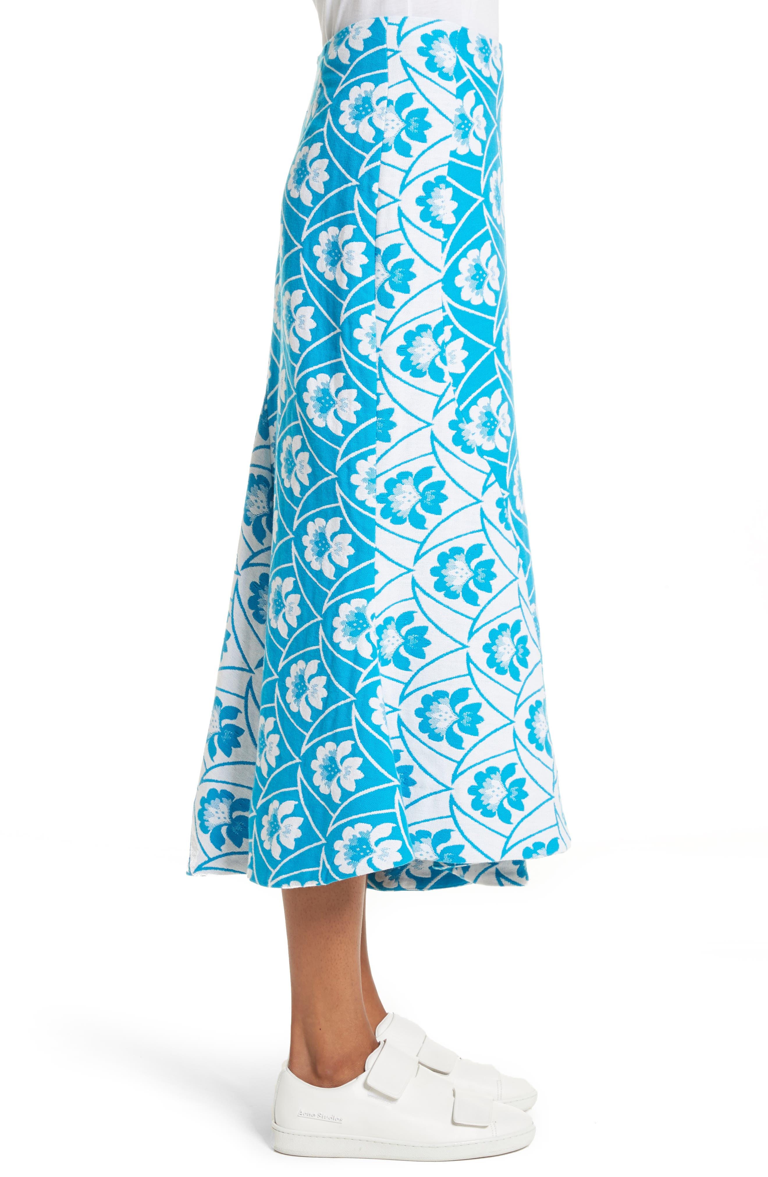 Twist Seam Flare Hem Skirt,                             Alternate thumbnail 3, color,                             460