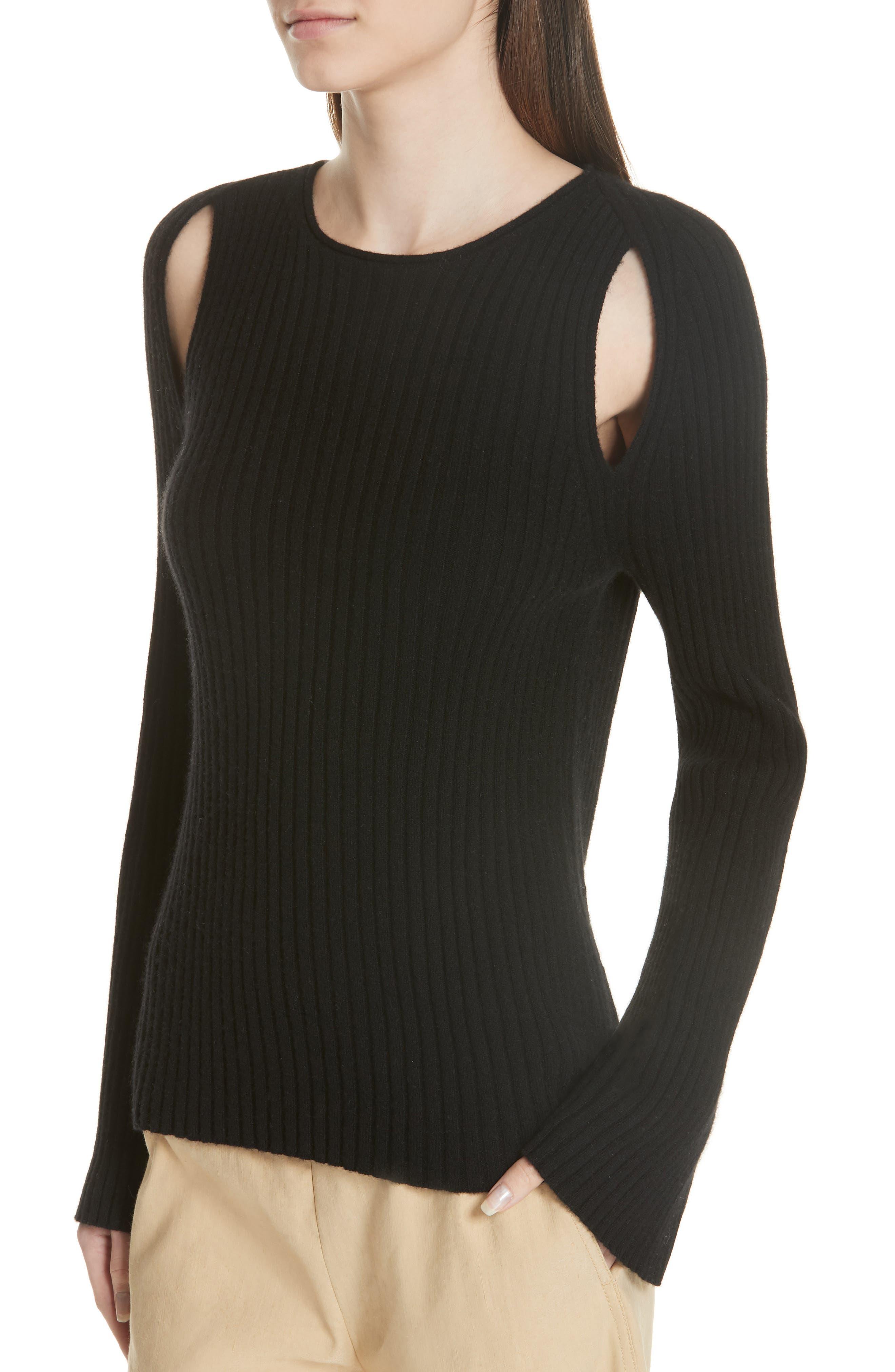 Shoulder Slit Cashmere Crewneck Sweater,                             Alternate thumbnail 4, color,                             BLACK