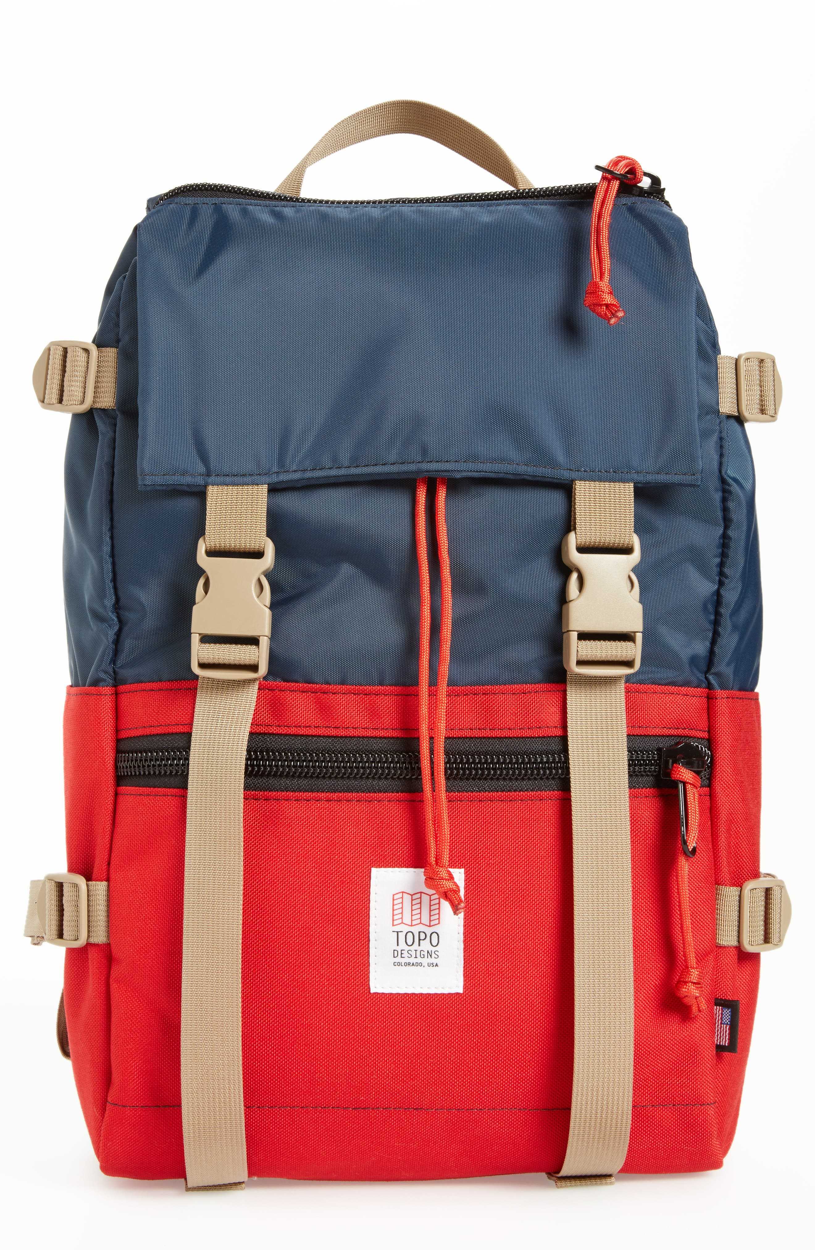 'Rover' Backpack,                             Main thumbnail 1, color,                             NAVY/ RED