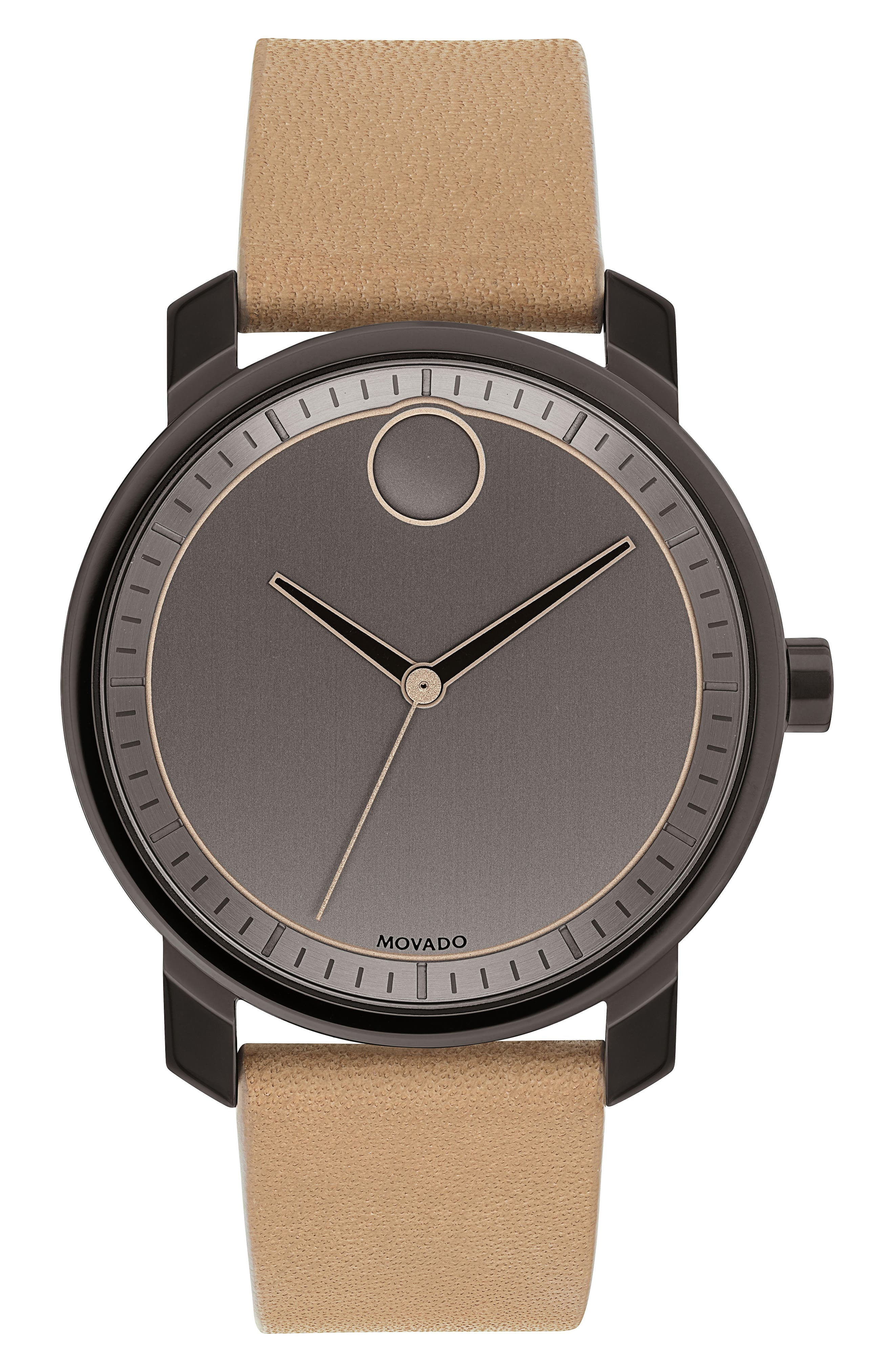 Bold Leather Strap Watch, 41mm,                         Main,                         color,