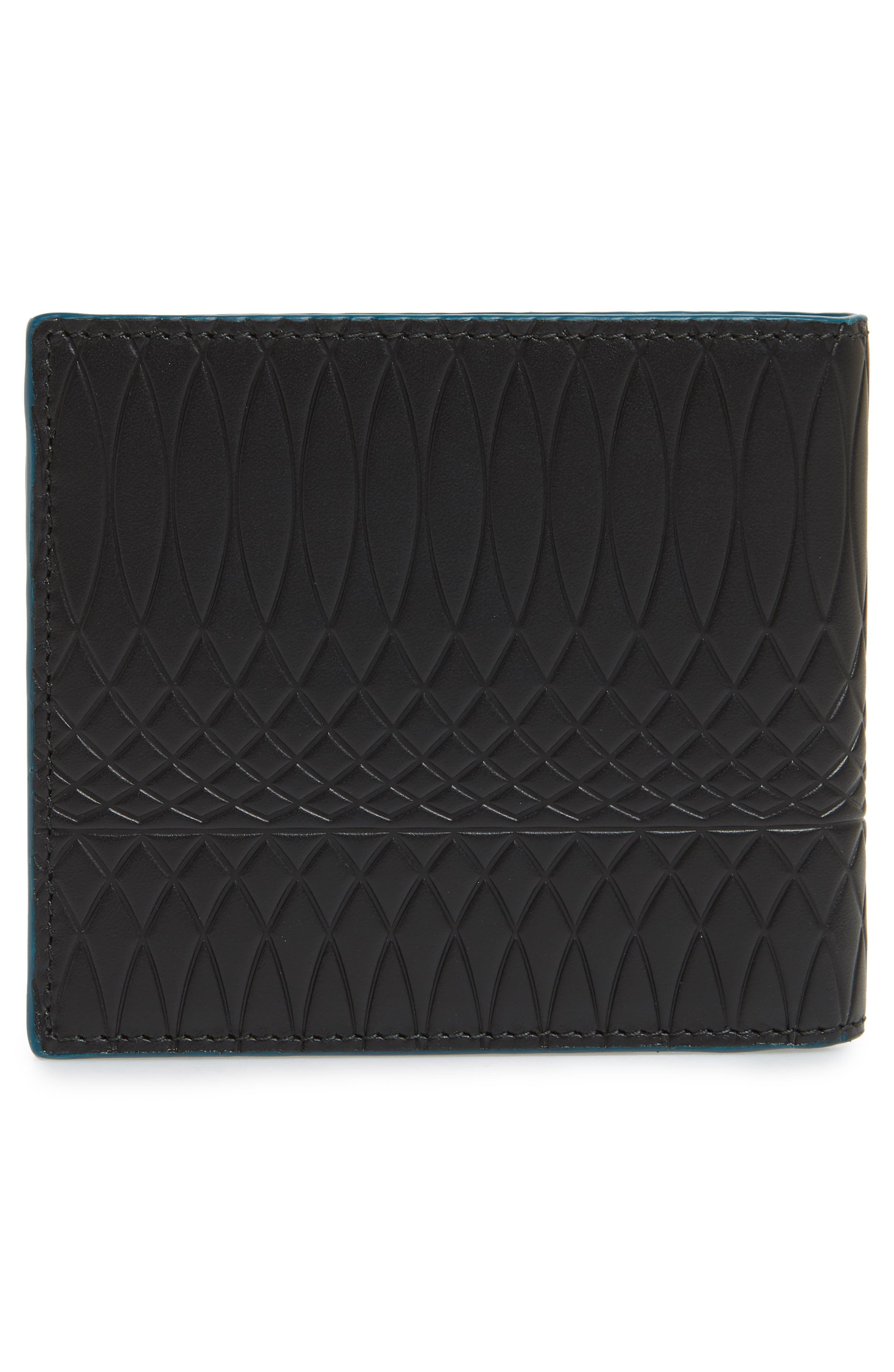 Embossed Leather Billfold Wallet,                             Alternate thumbnail 3, color,                             BLACK