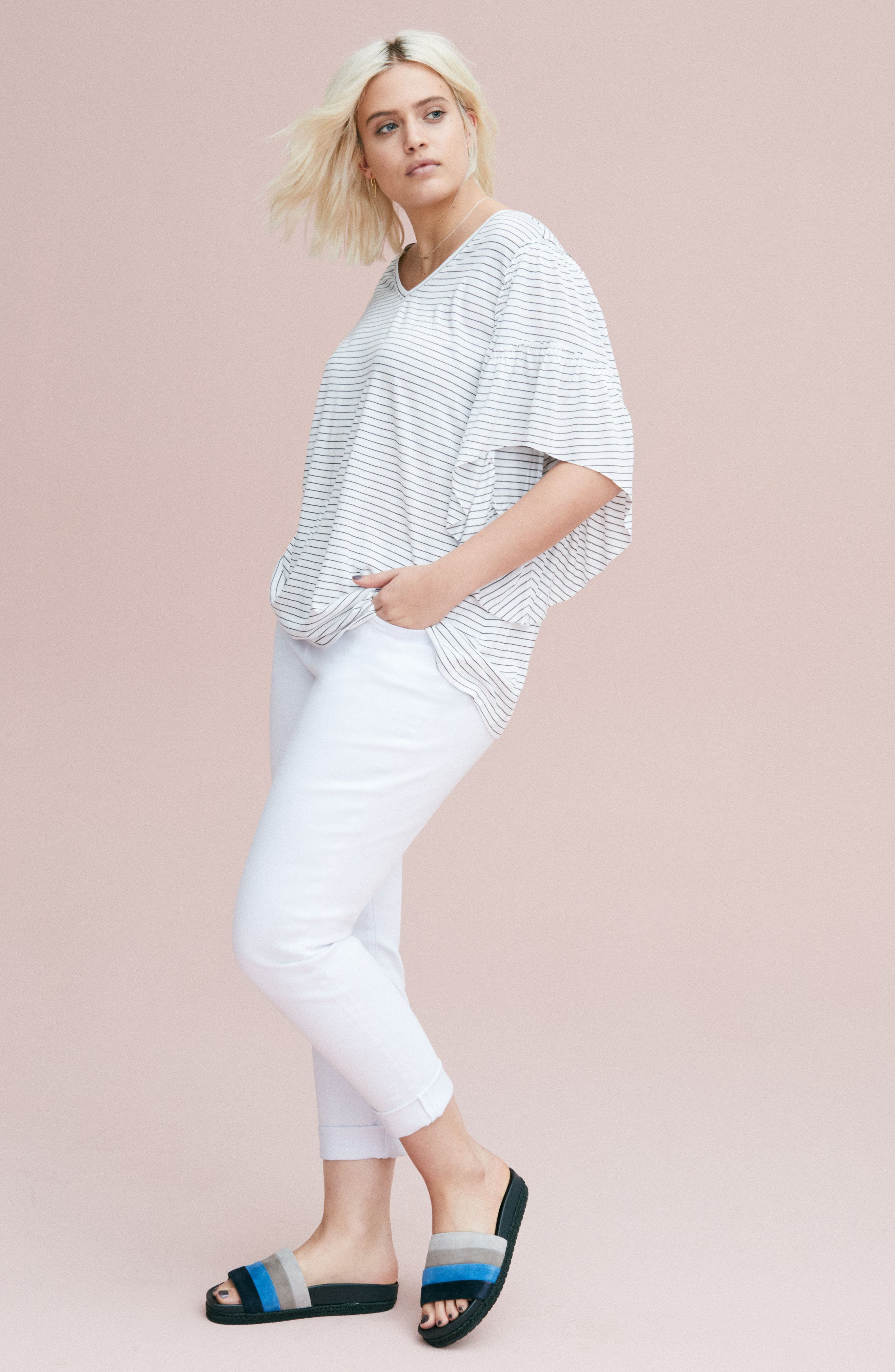 Frill Sleeve Tee,                             Alternate thumbnail 9, color,                             030