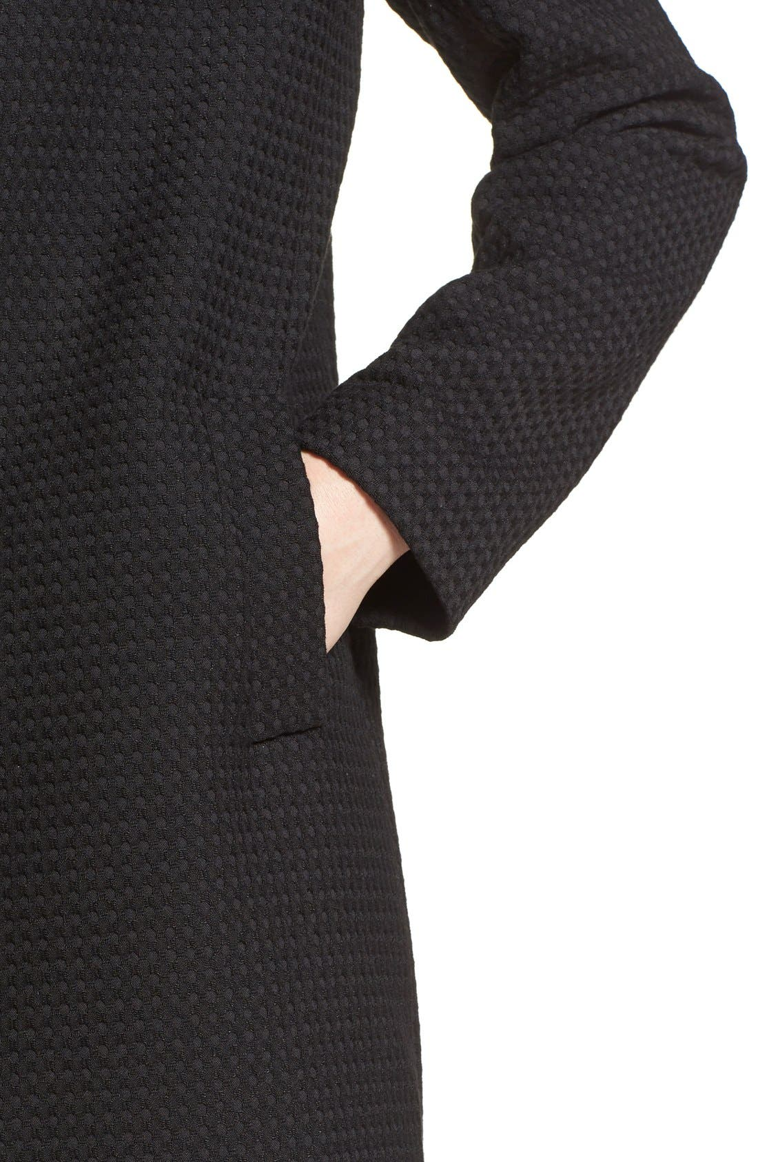 Textured Collarless Topper,                             Alternate thumbnail 4, color,                             001