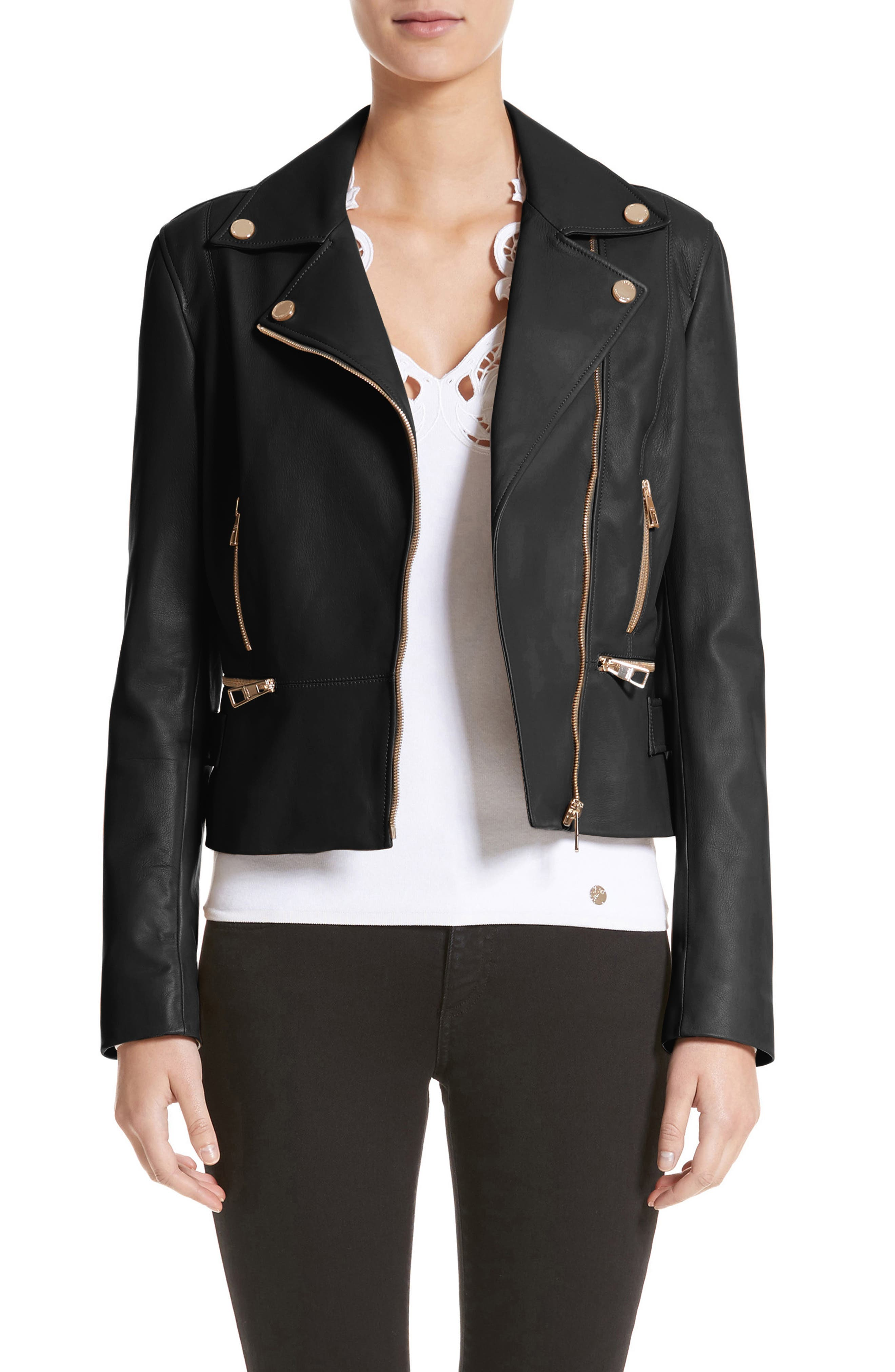 Nappa Leather Jacket,                         Main,                         color, 001