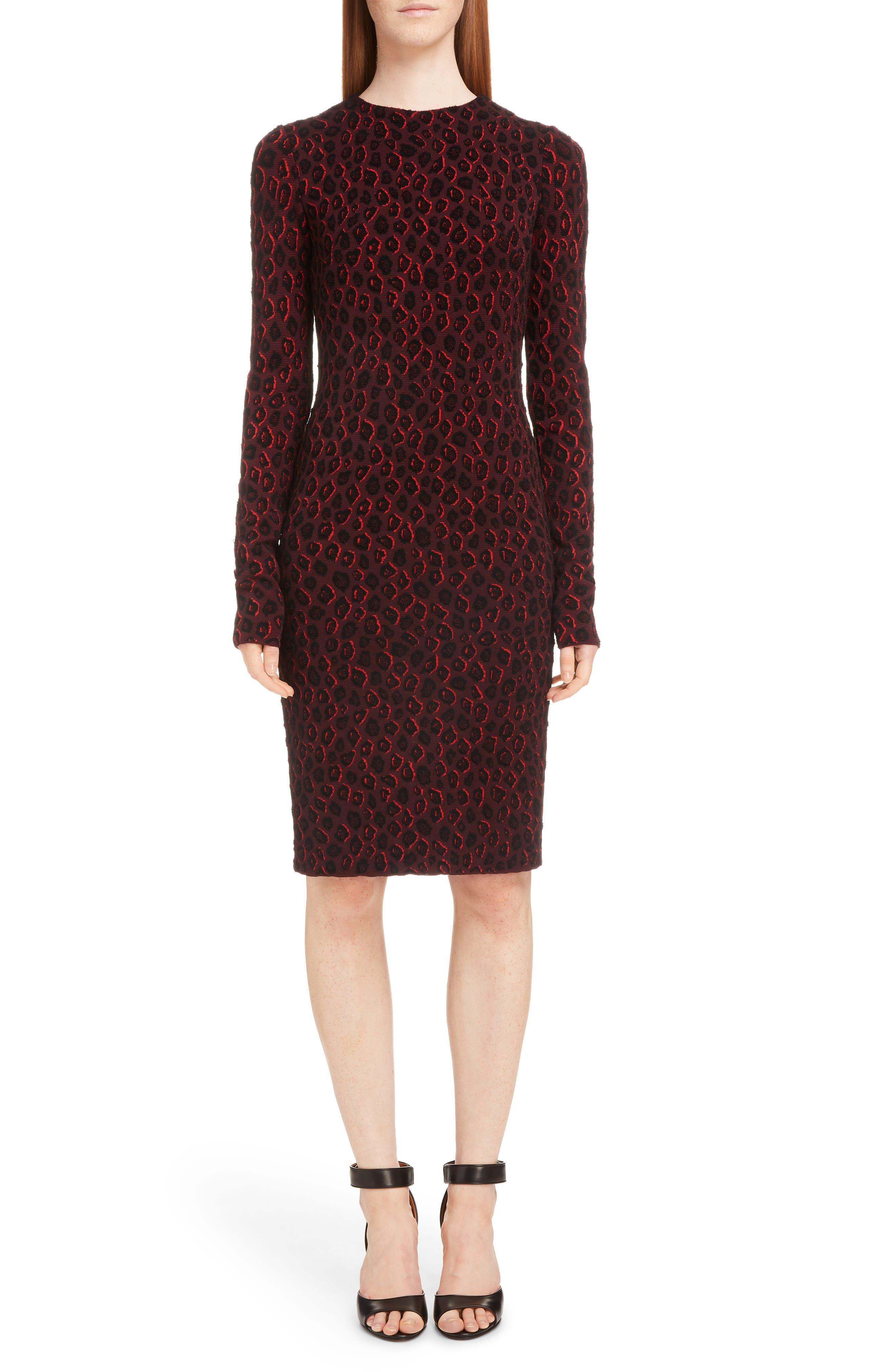 Givenchy Leopard Jacquard Dress, Burgundy