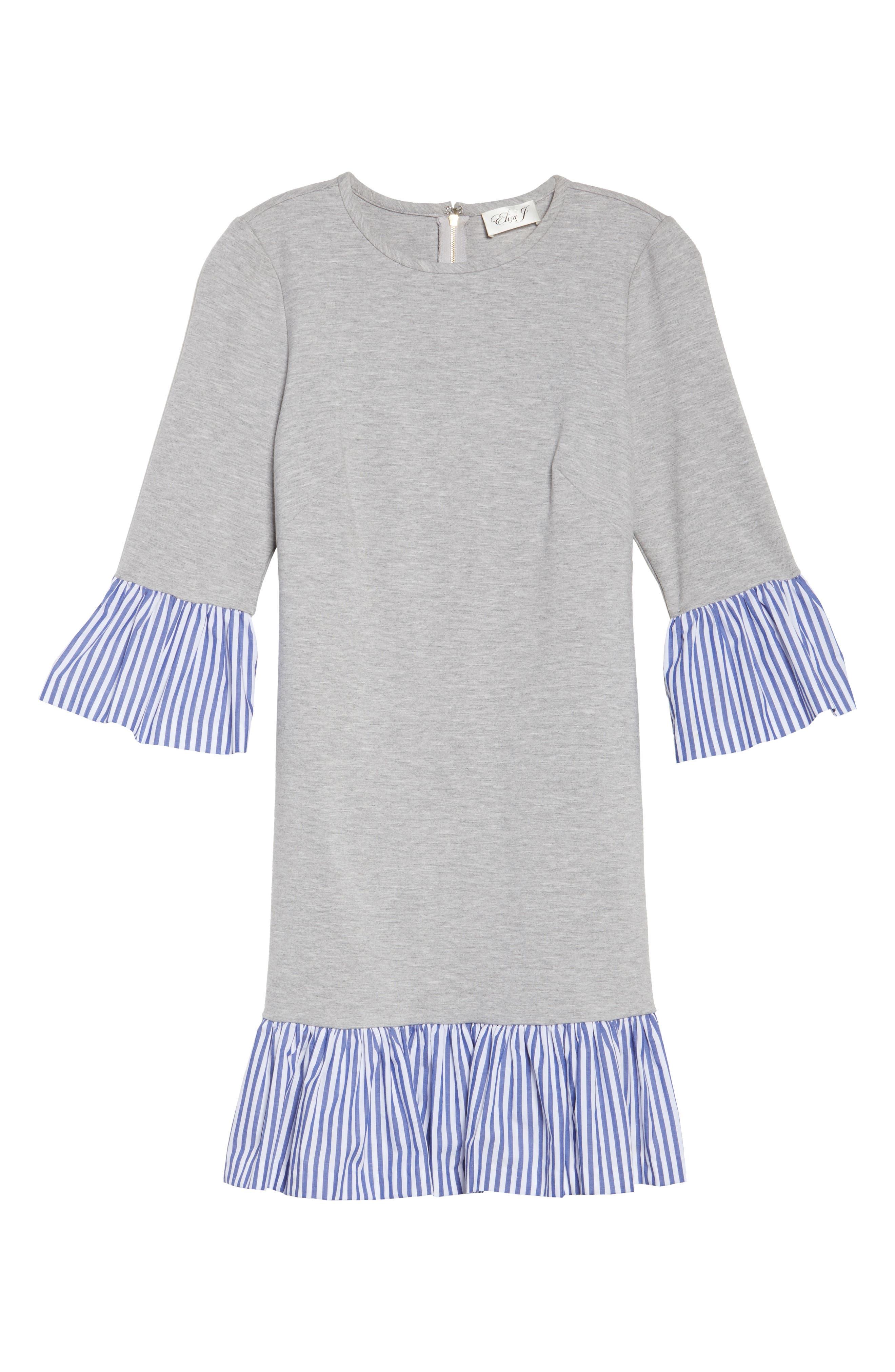 Flounce Hem Sweatshirt Dress,                             Alternate thumbnail 6, color,                             030