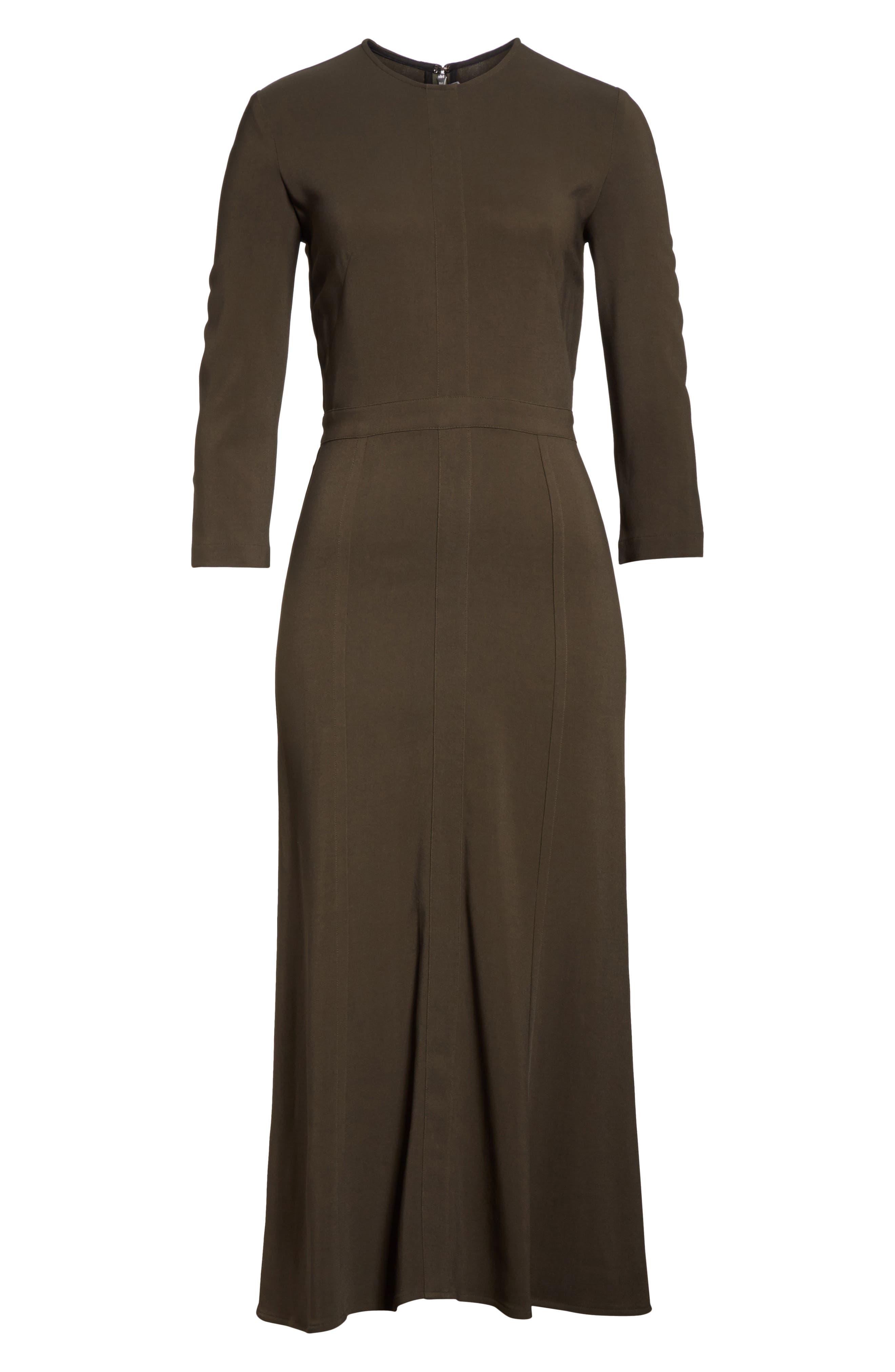 Paneled Cady Midi Dress,                             Alternate thumbnail 7, color,                             KHAKI GREEN