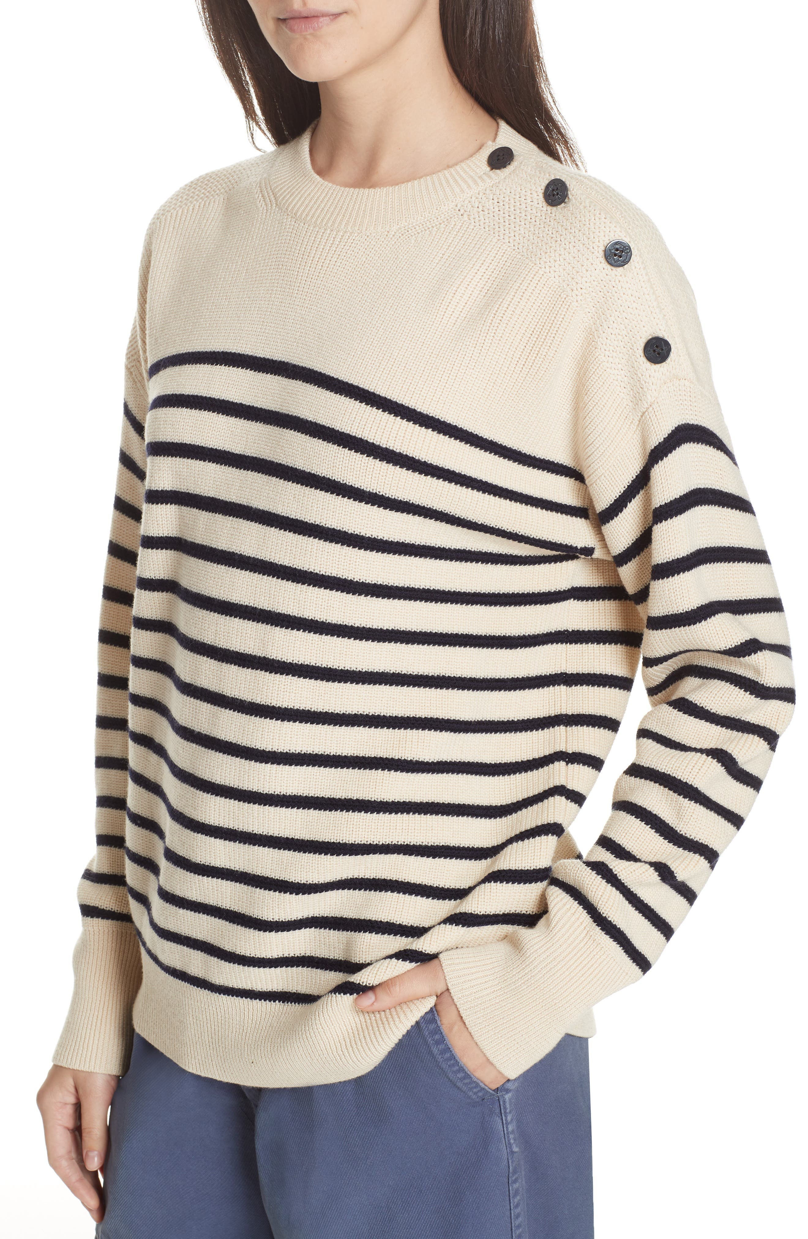 Stripe Wool Sweater,                             Alternate thumbnail 2, color,                             CREAM/ NAVY