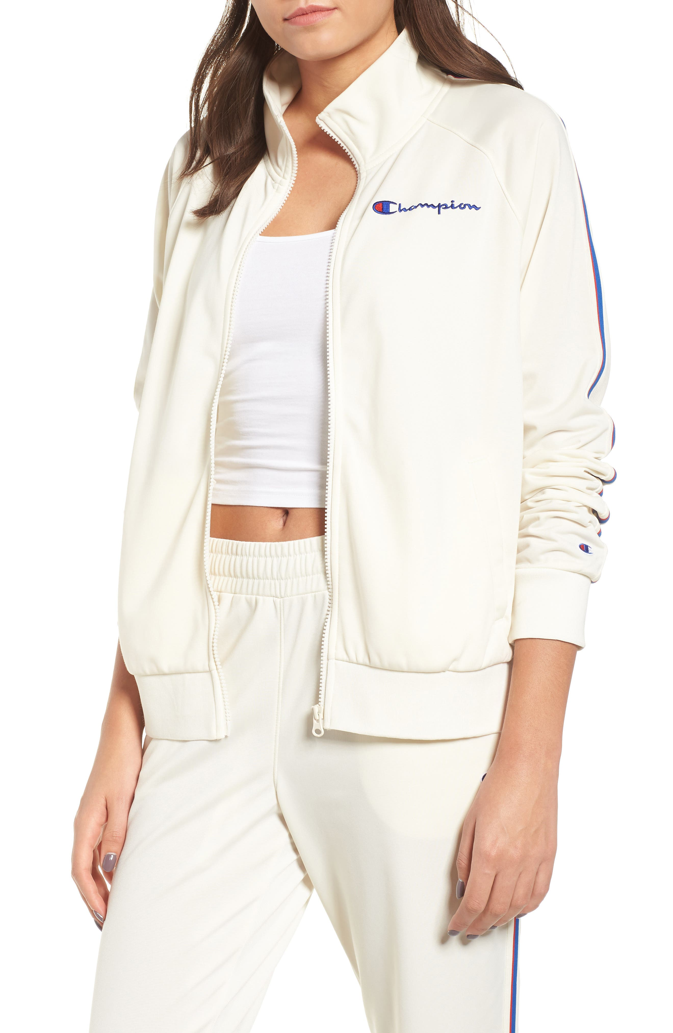 Track Jacket,                         Main,                         color, CHALK WHITE