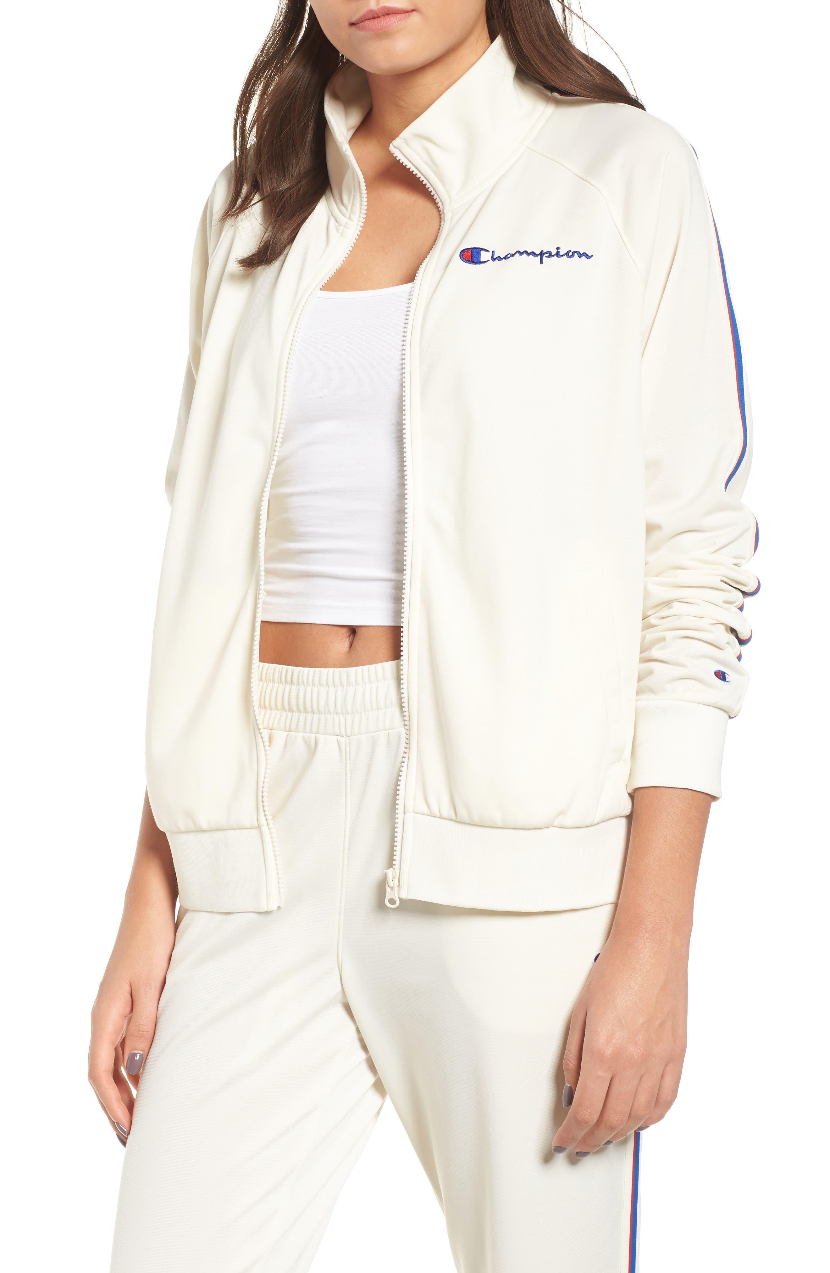 Track Jacket,                         Main,                         color, CHALK WHITE