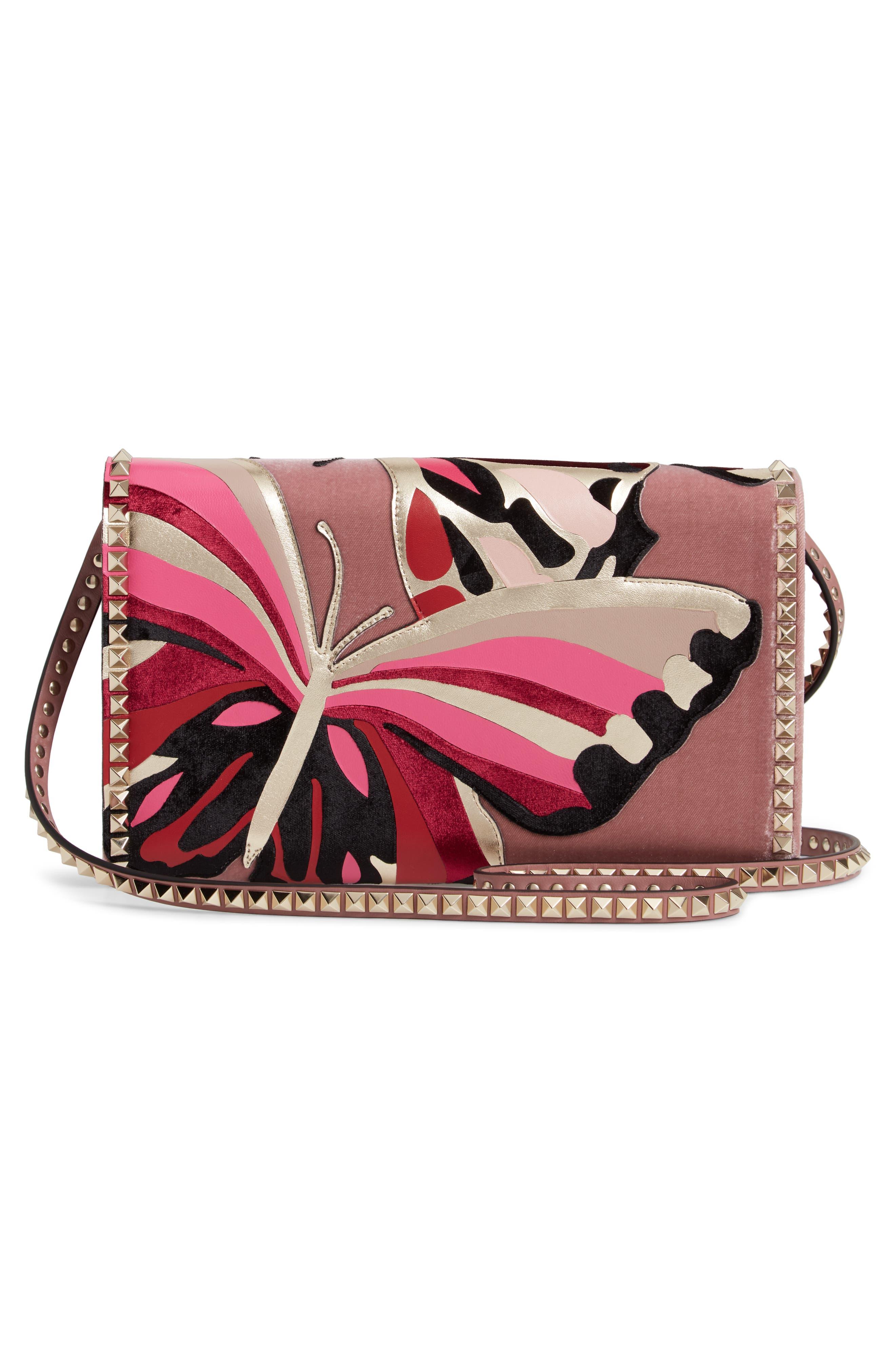VALENTINO GARAVANI,                             Patchwork Butterfly Leather & Textile Shoulder Bag,                             Alternate thumbnail 3, color,                             LIP