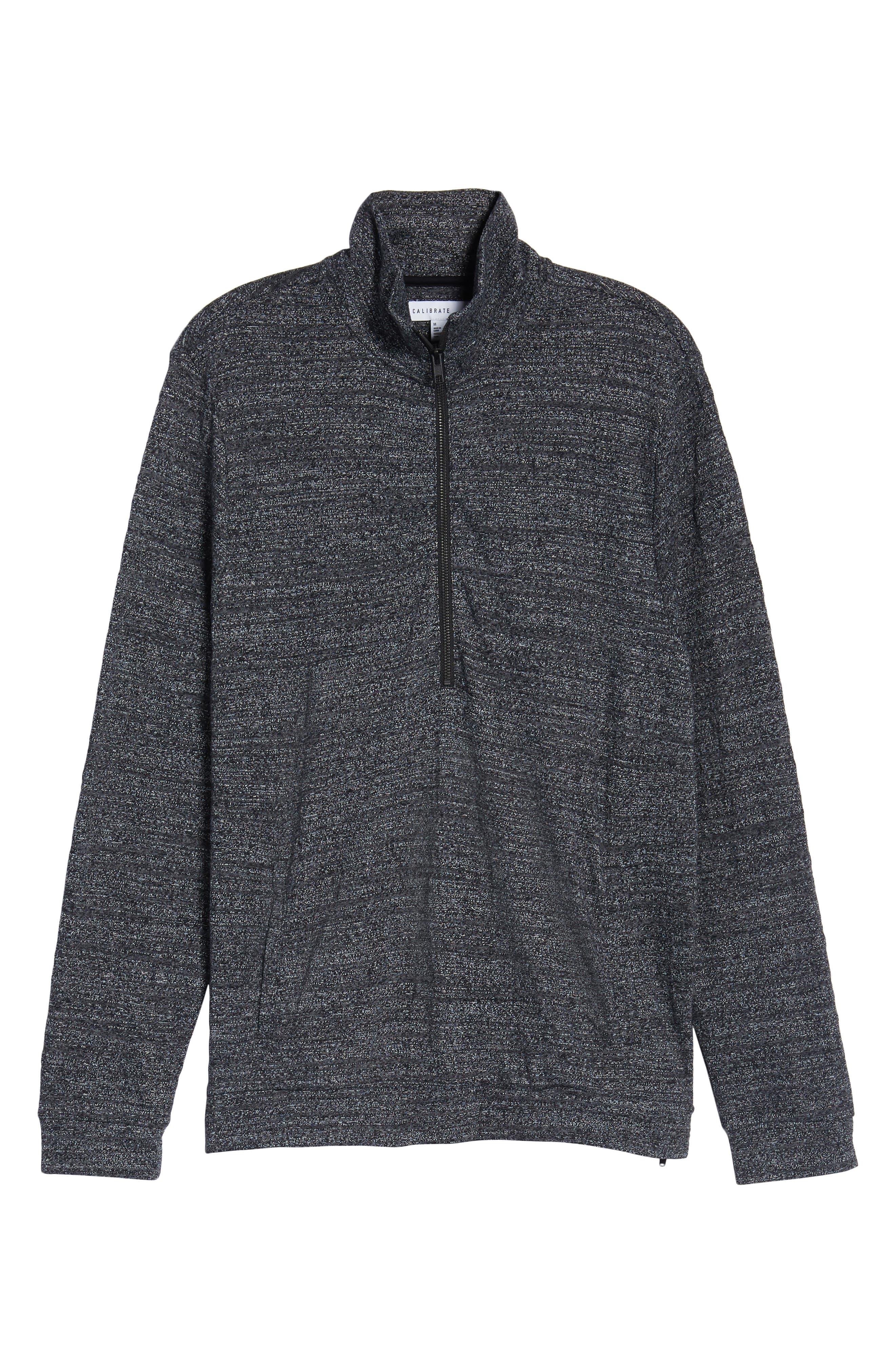 CALIBRATE,                             Textured Zip Fleece Sweatshirt,                             Alternate thumbnail 6, color,                             001