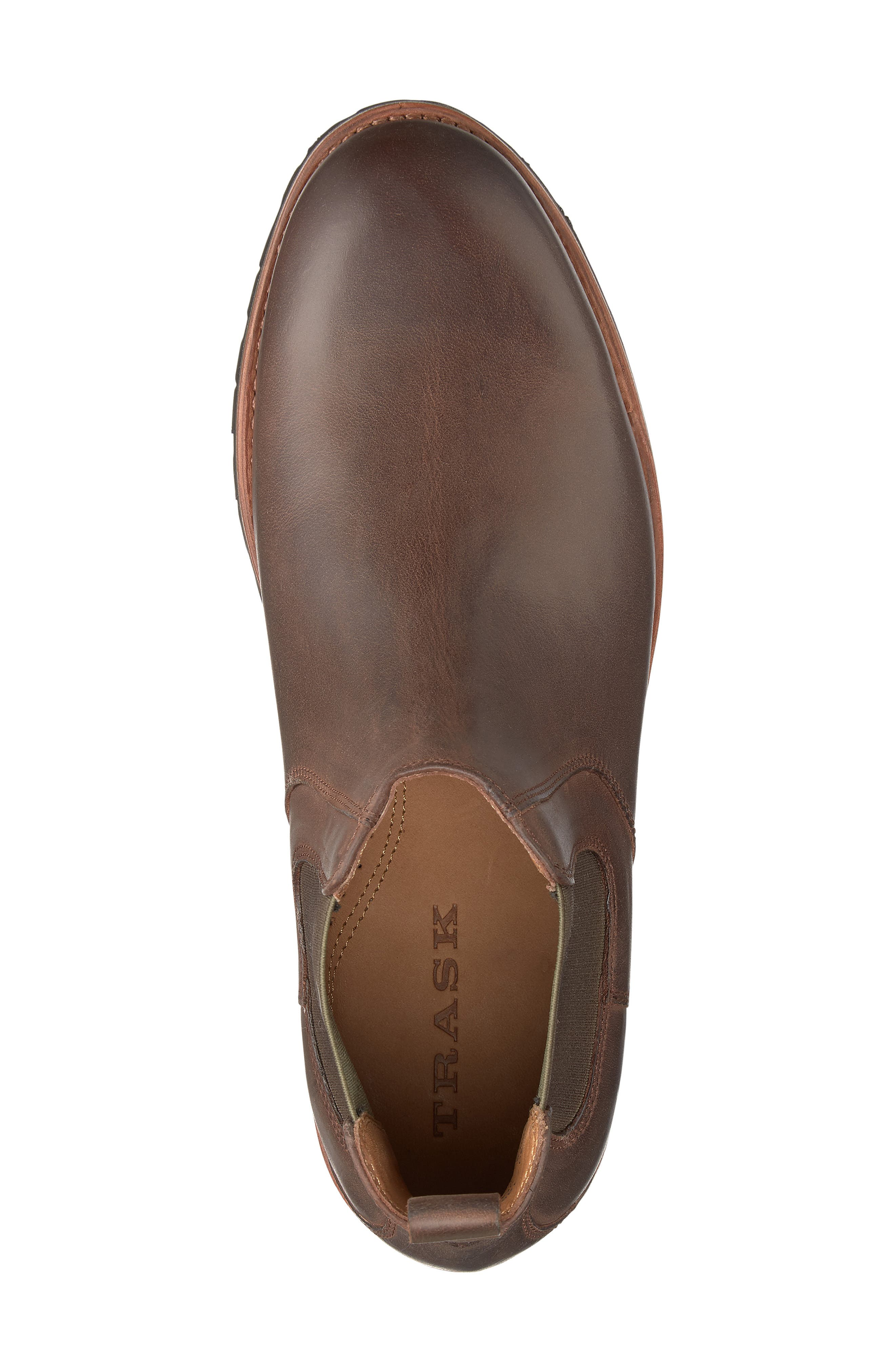 Hastings Lugged Chelsea Boot,                             Alternate thumbnail 5, color,                             BROWN LEATHER