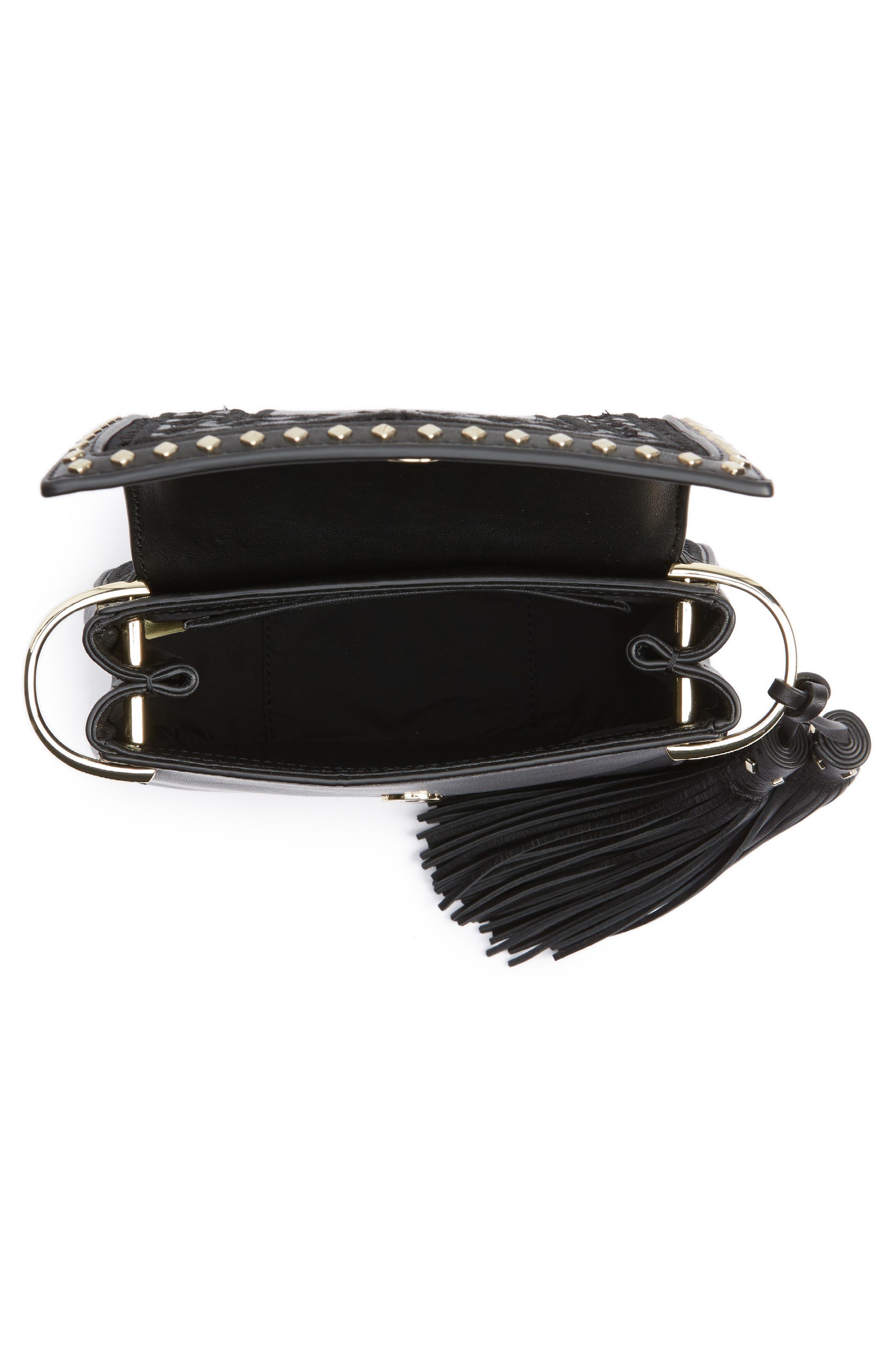 basset lane - small emaline leather crossbody bag,                             Alternate thumbnail 4, color,                             001