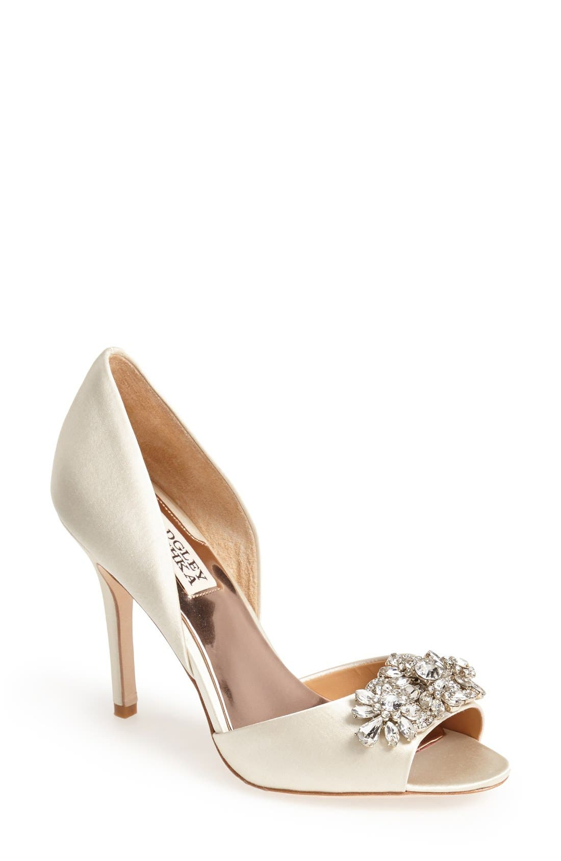Badgley Mischka 'Giana' Satin d'Orsay Pump,                             Main thumbnail 1, color,                             901