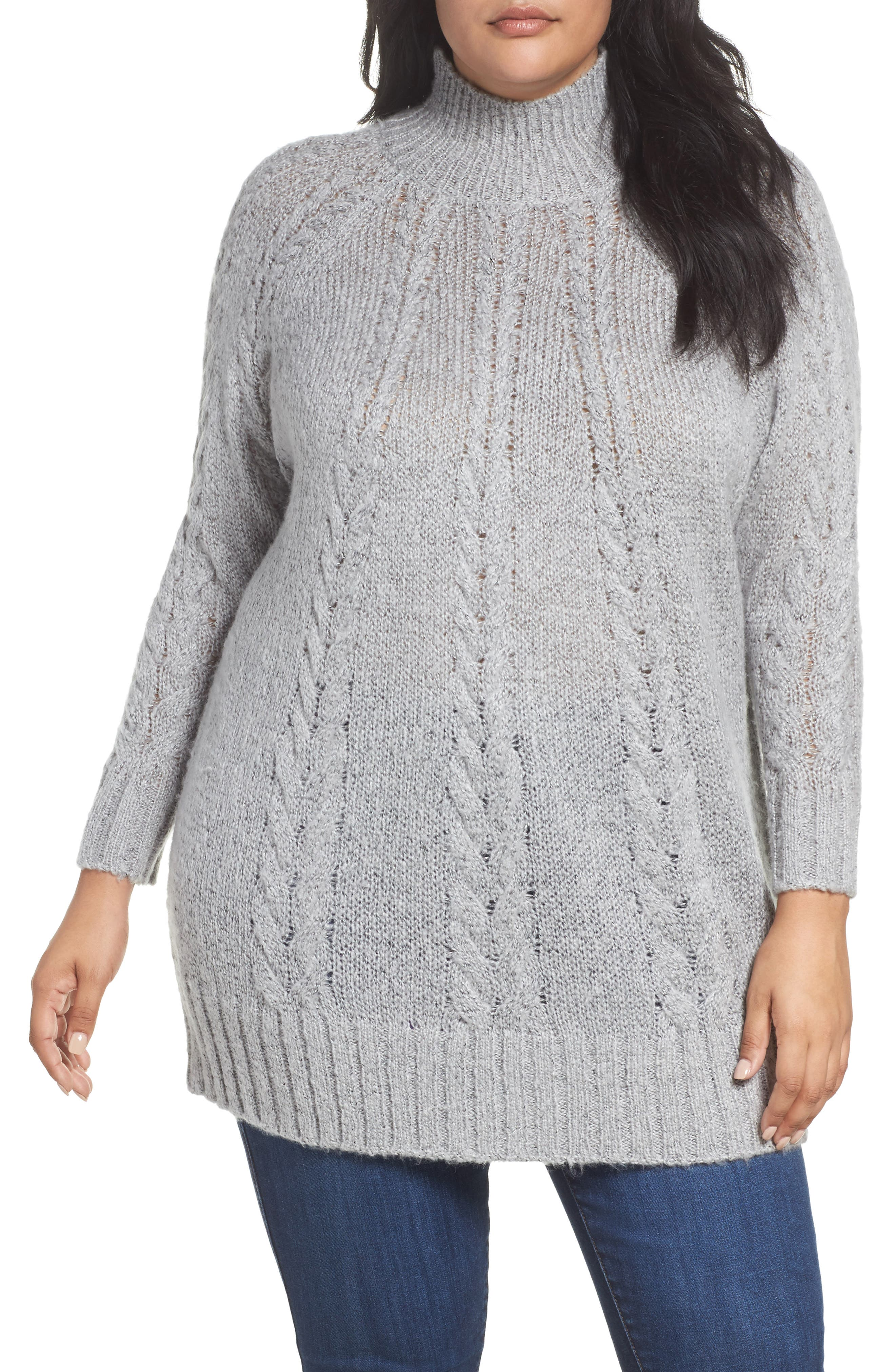 Cable Knit Tunic Sweater,                             Main thumbnail 1, color,                             030