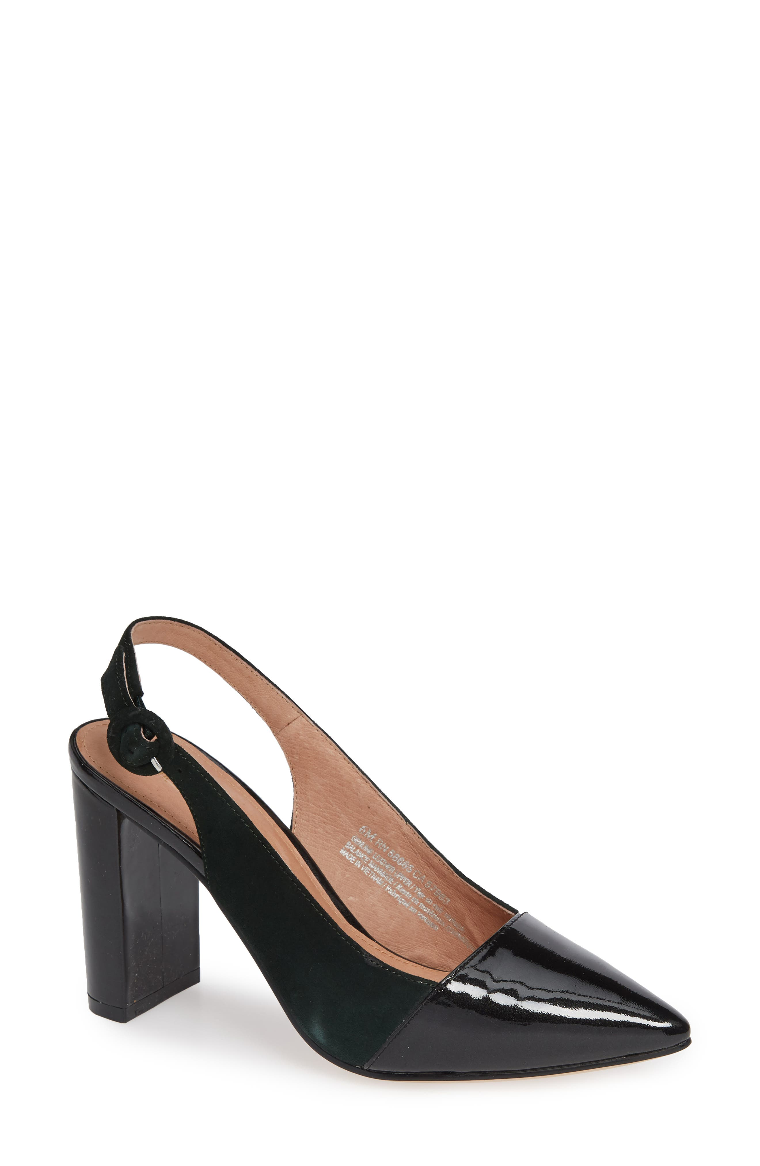x Atlantic-Pacific The Slingback Pump, Main, color, FOREST GREEN/ BLACK PATENT