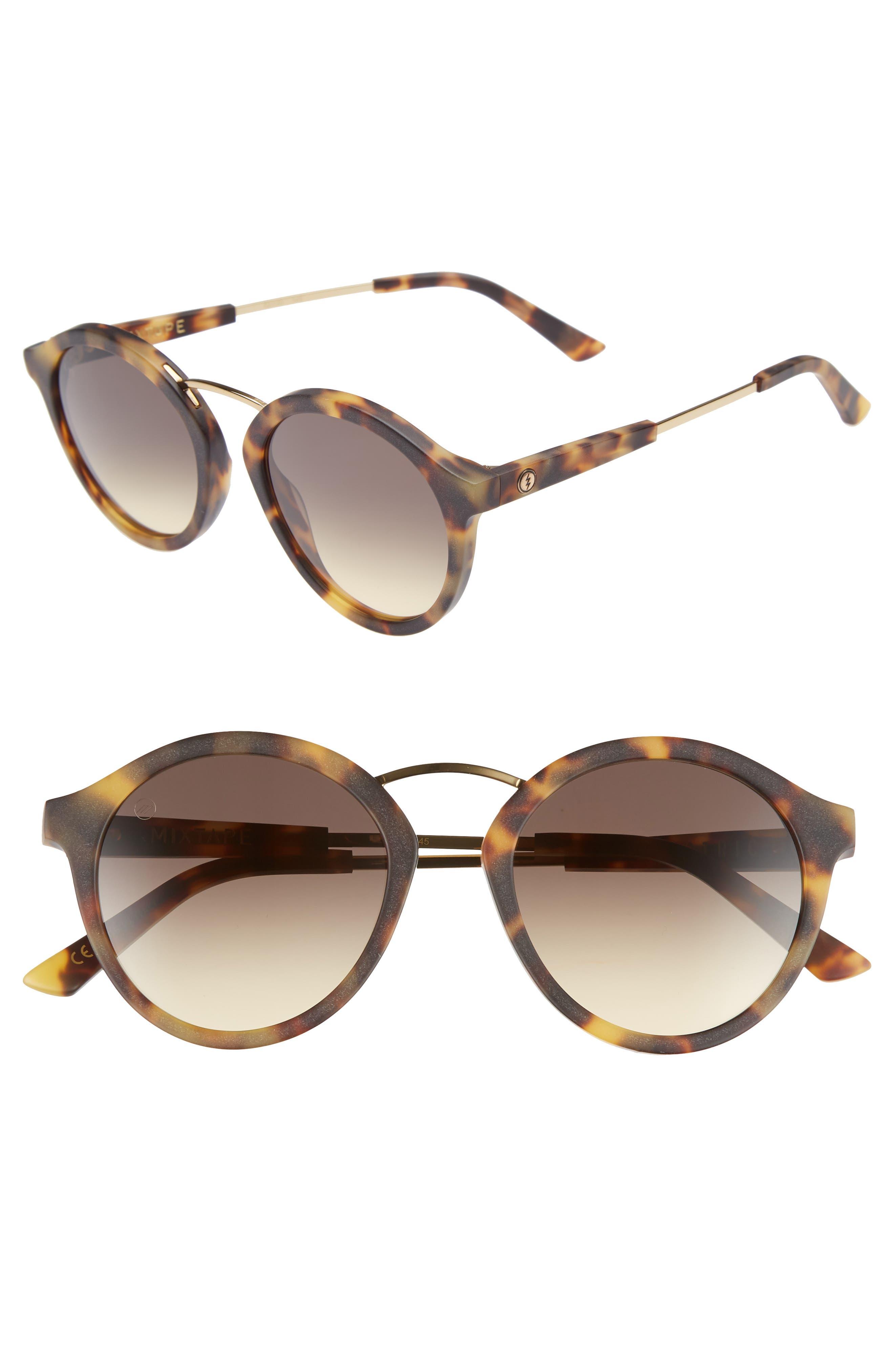 Mix Tape 52mm Mirrored Round Sunglasses,                         Main,                         color, MATTE TORTOISE/ BLACK GRADIENT