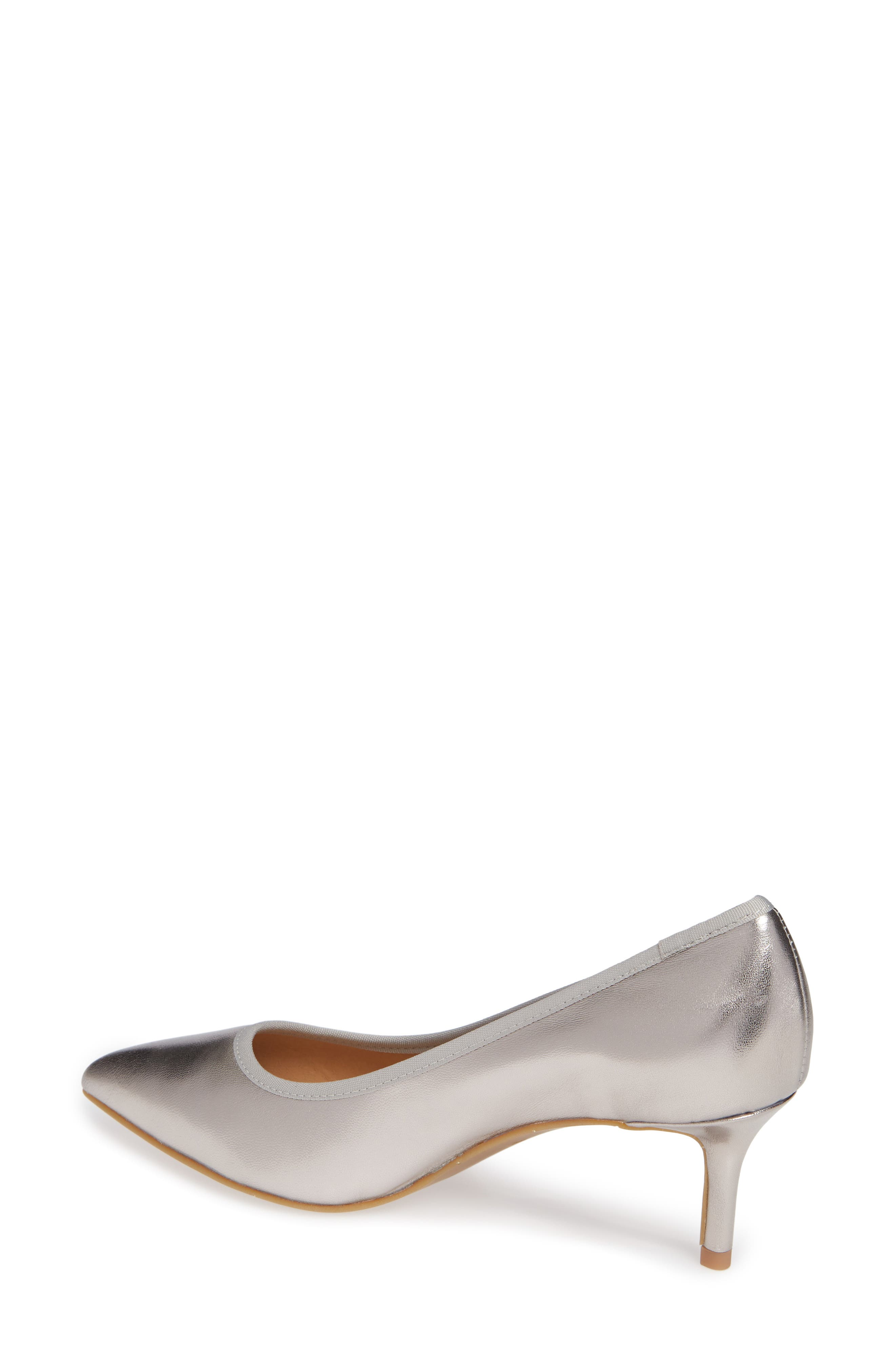 NIC + ZOE Cora Pointy Toe Pump,                             Alternate thumbnail 2, color,                             PEWTER LEATHER