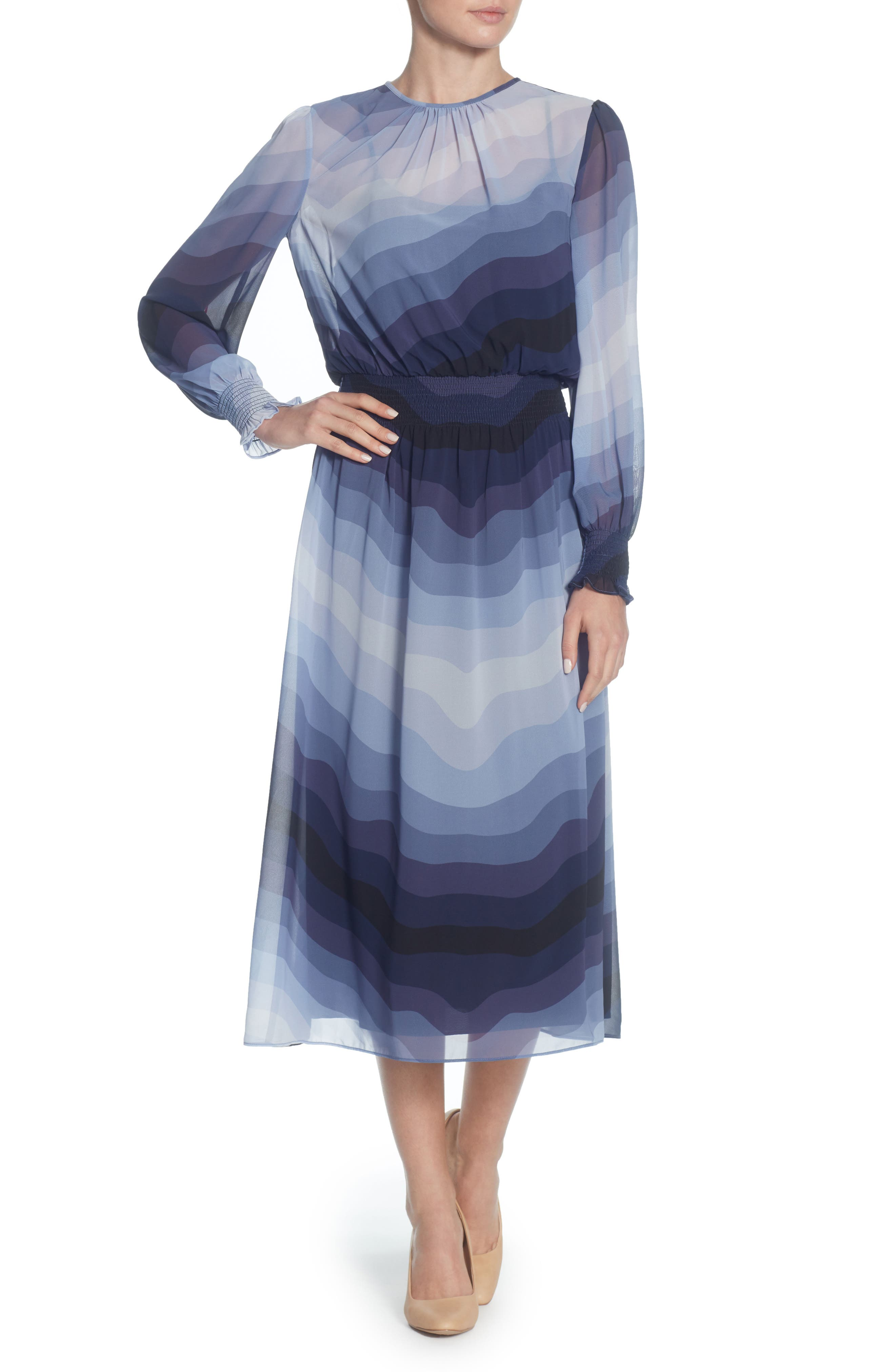CATHERINE CATHERINE MALANDRINO,                             Marlieke Chiffon Midi Dress,                             Main thumbnail 1, color,                             599