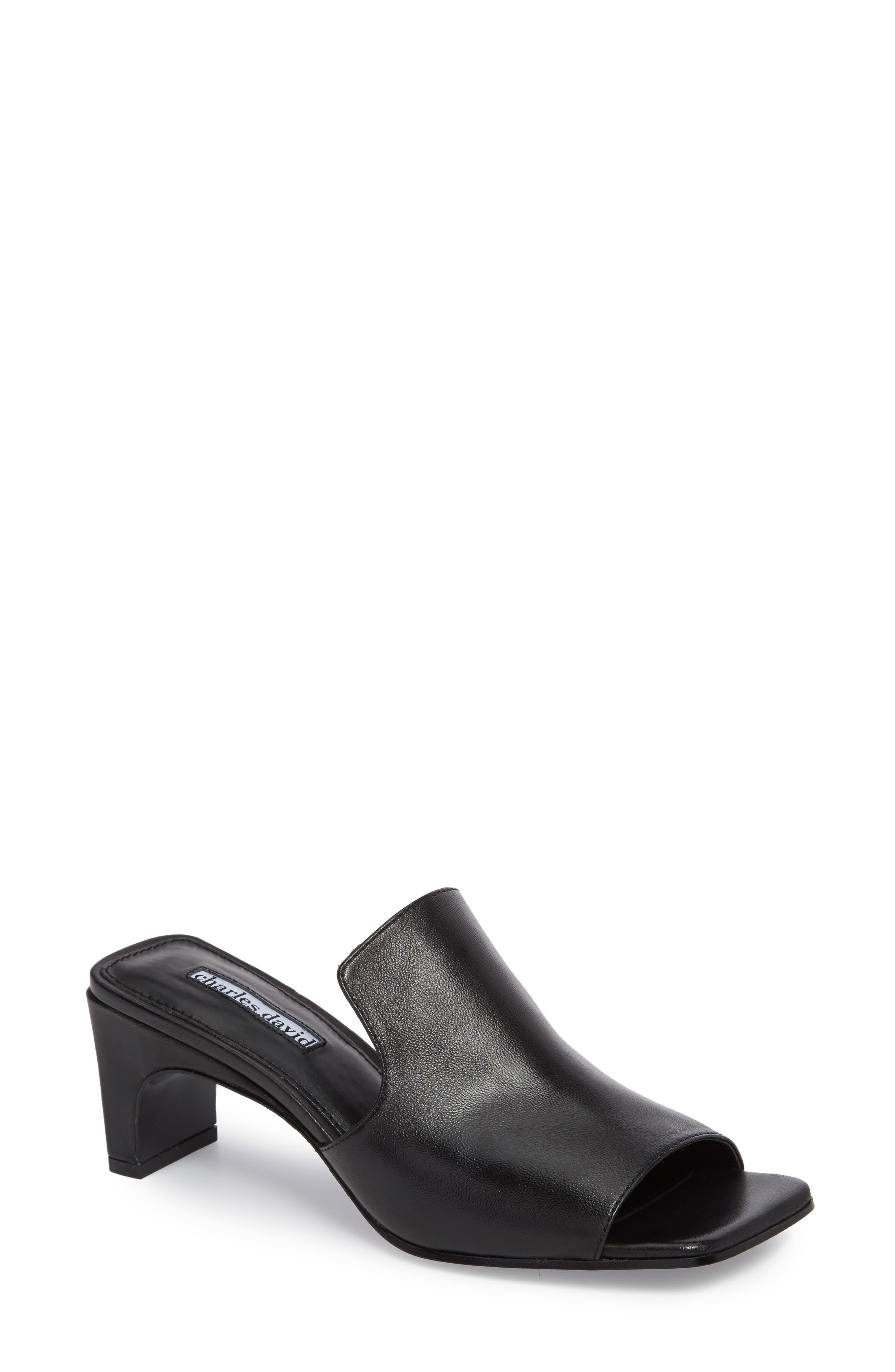 Charles David Herald Slide Sandal- Black
