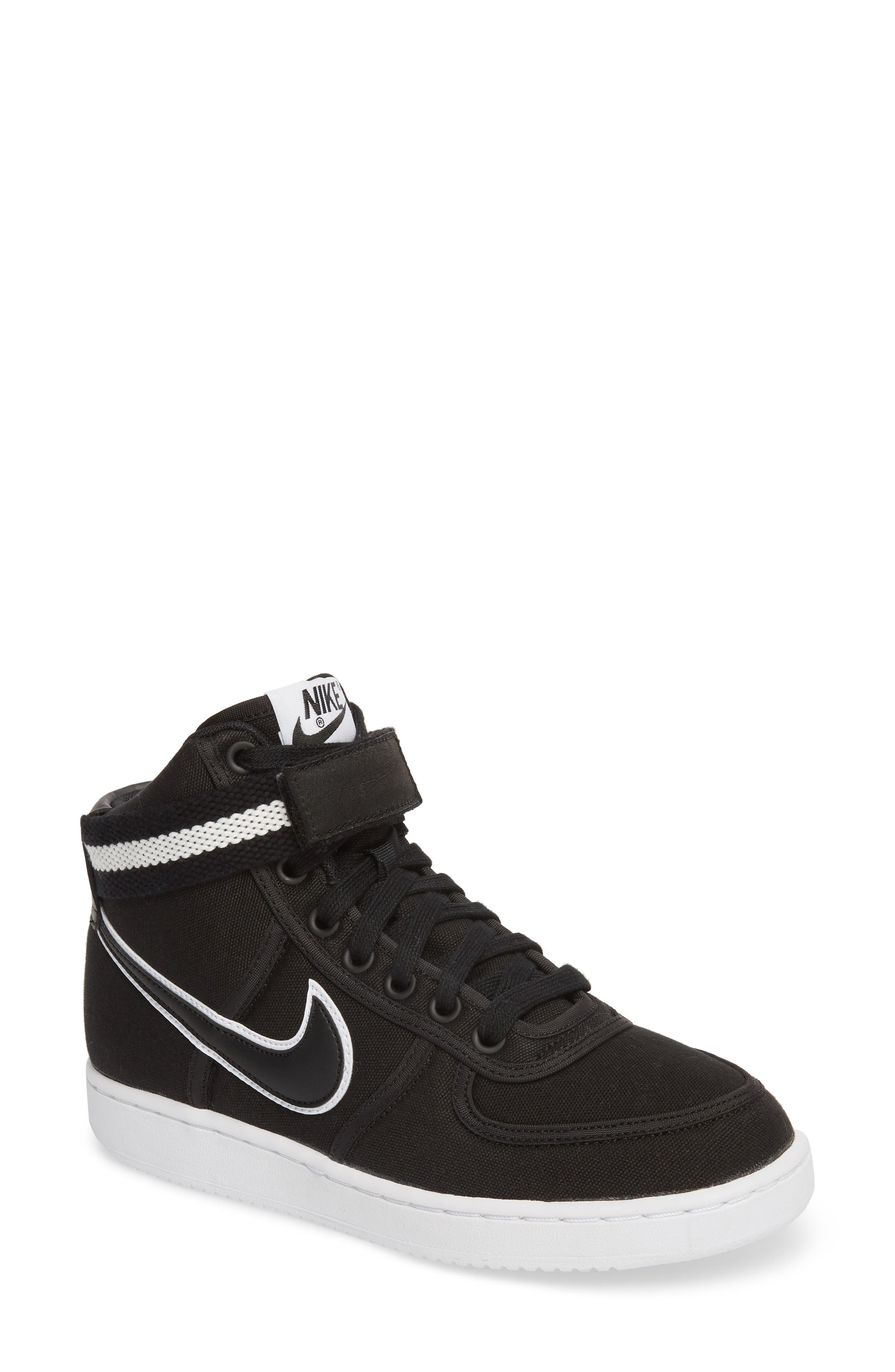 Vandal High Top Sneaker,                             Main thumbnail 1, color,                             BLACK/ BLACK-WHITE