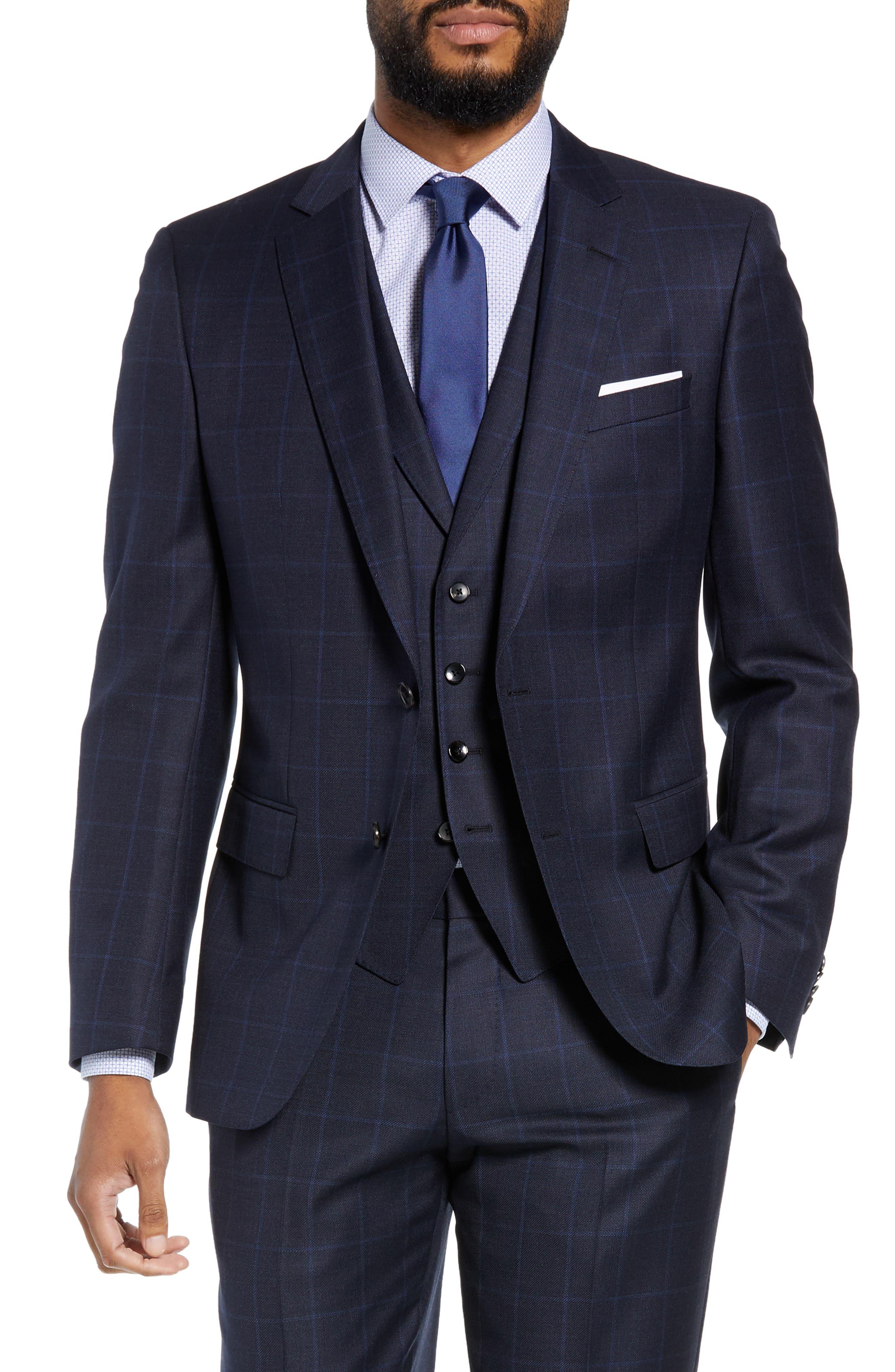 Huge/Genius Trim Fit Windowpane Wool Three-Piece Suit,                             Alternate thumbnail 5, color,                             480