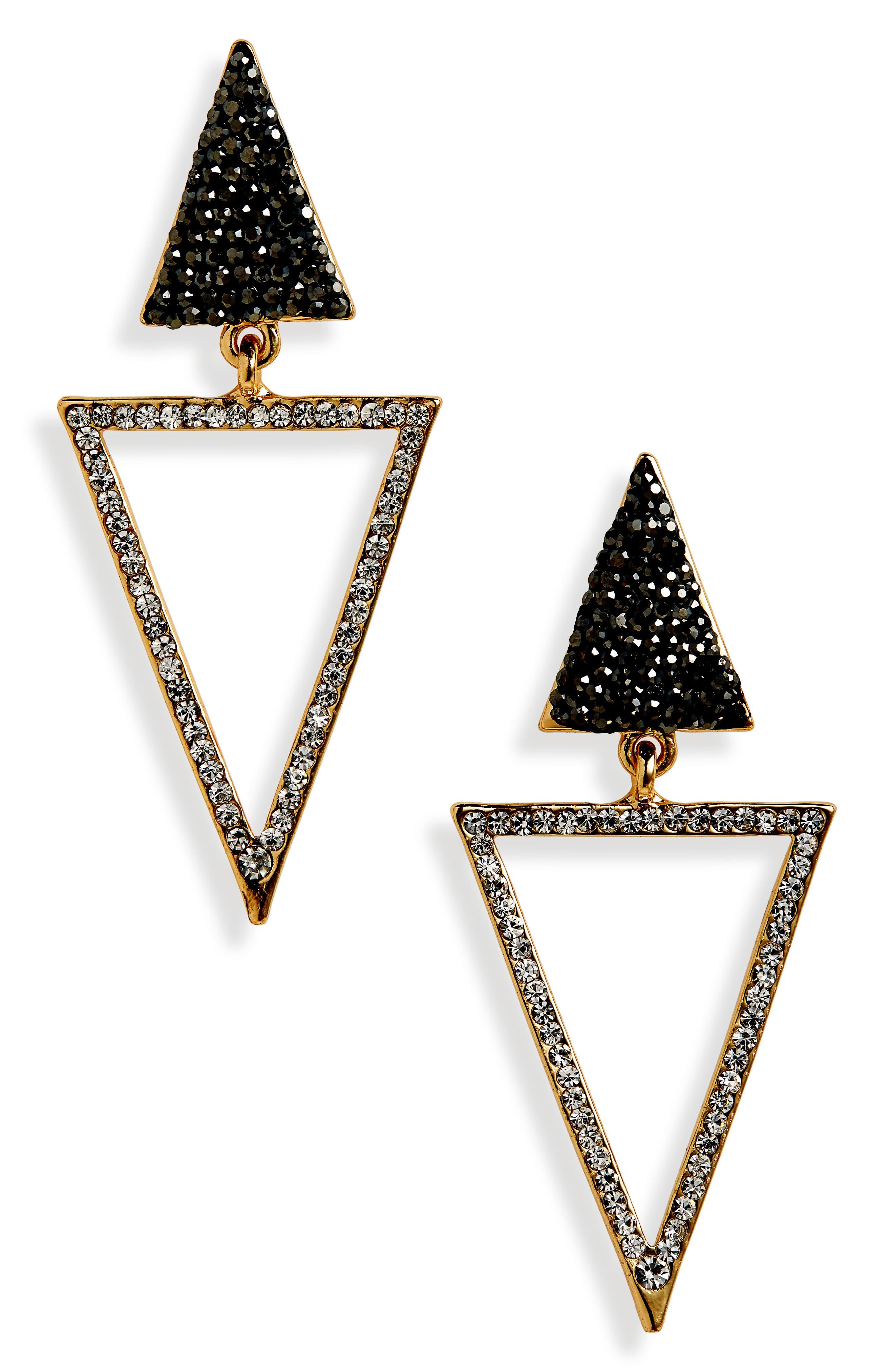PANACEA Crystal Triangle Drop Earrings in Grey Multi