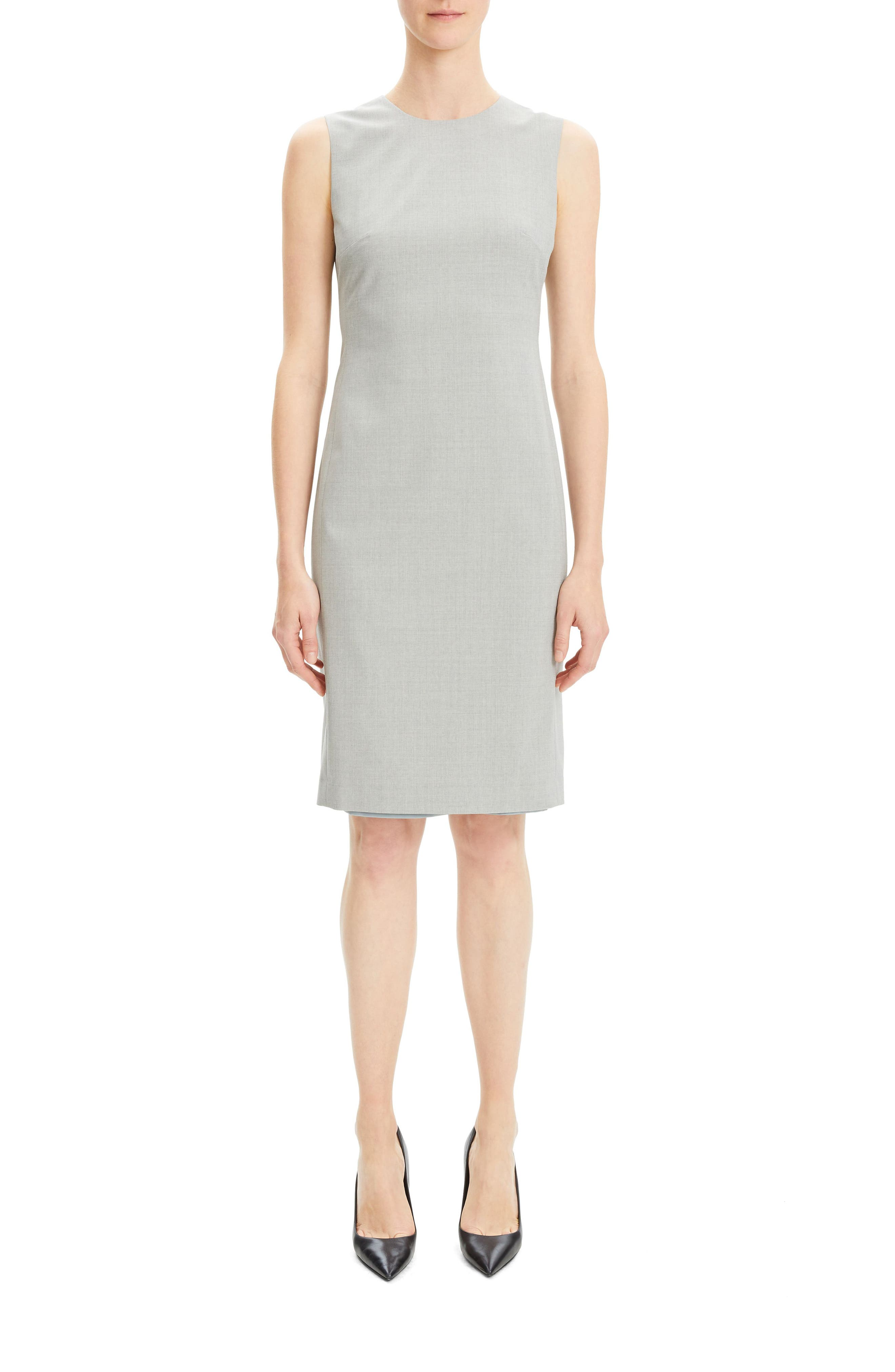 THEORY,                             Eano Good Wool Sheath Dress,                             Alternate thumbnail 5, color,                             050