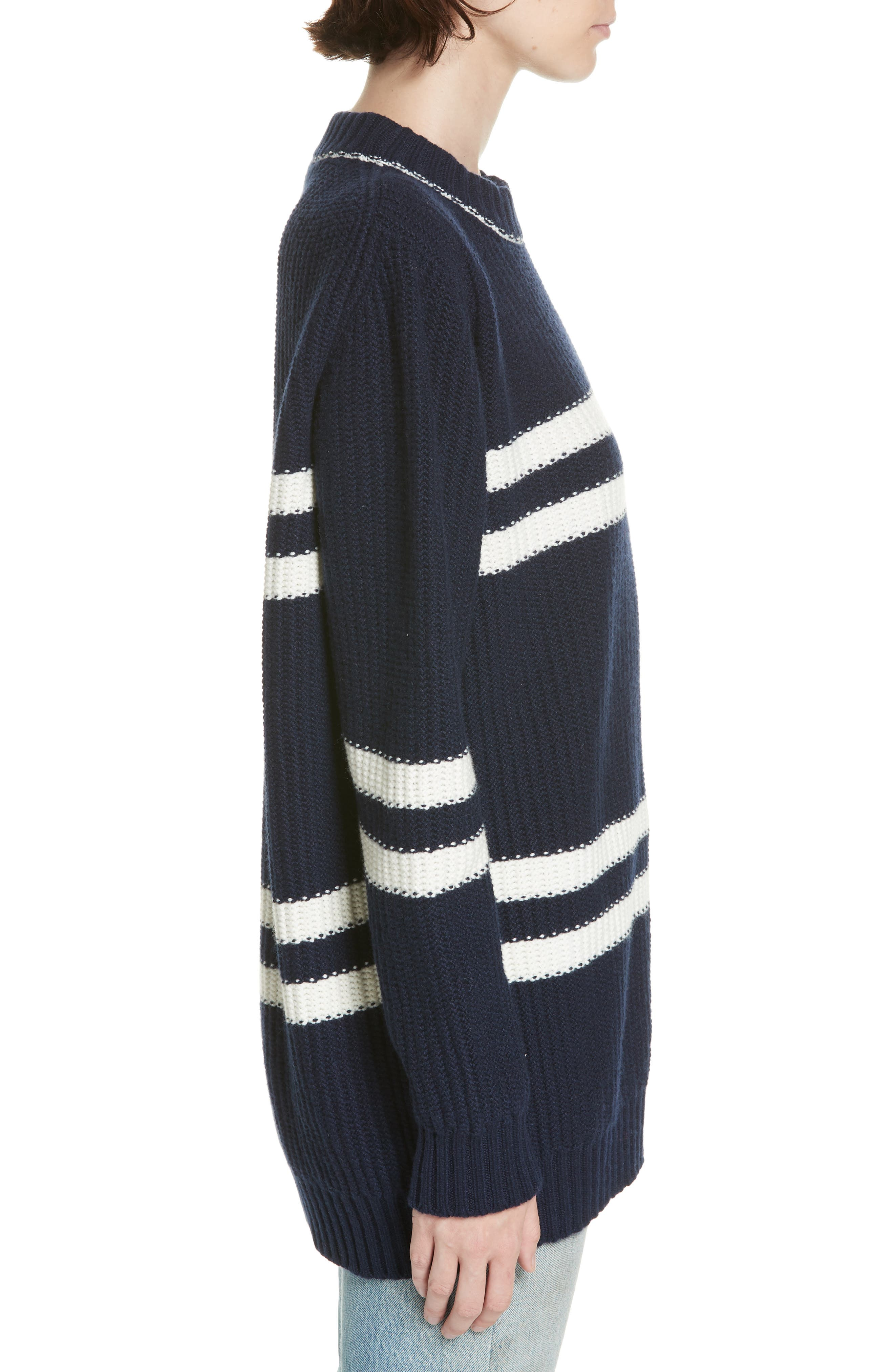 Tieve Stripe Cashmere & Cotton Sweater,                             Alternate thumbnail 3, color,                             NAVY/ ECRU