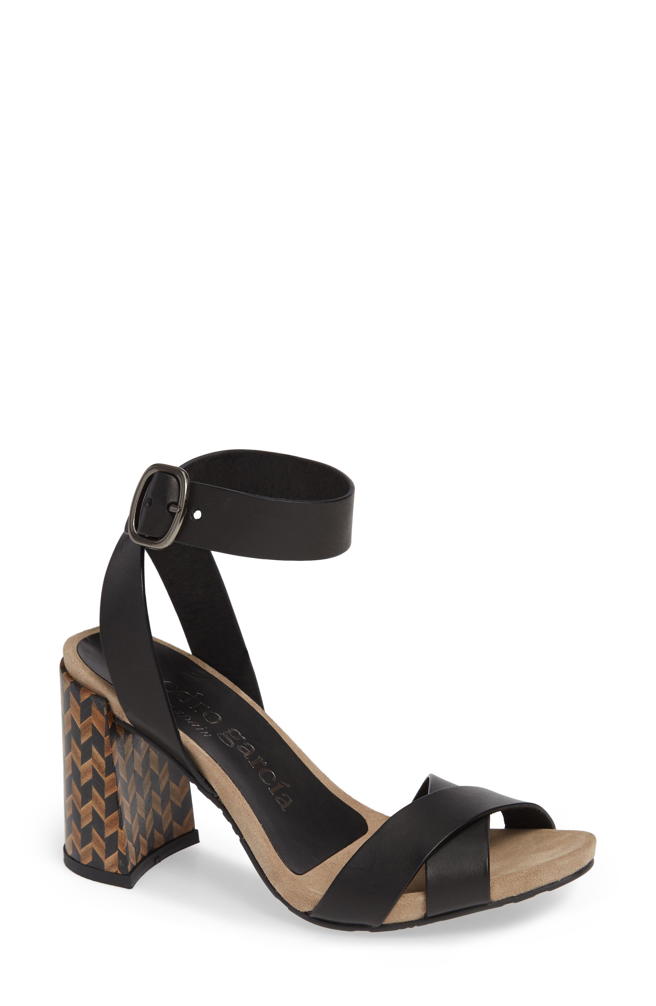 Yemba Embellished Heel Sandal,                             Main thumbnail 1, color,                             BLACK VACCHETTA