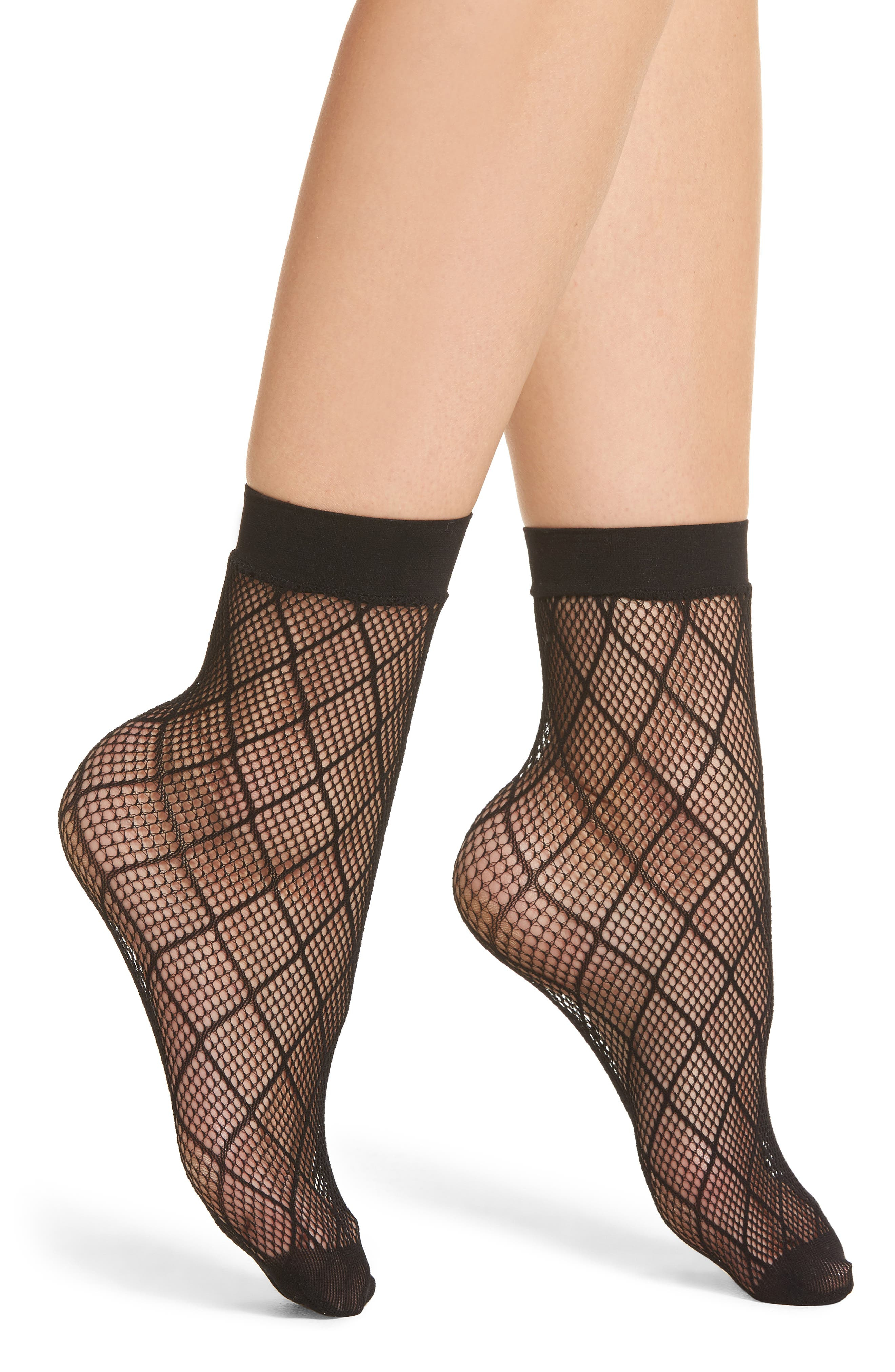 Diamond Fishnet Ankle Socks,                             Main thumbnail 1, color,                             001