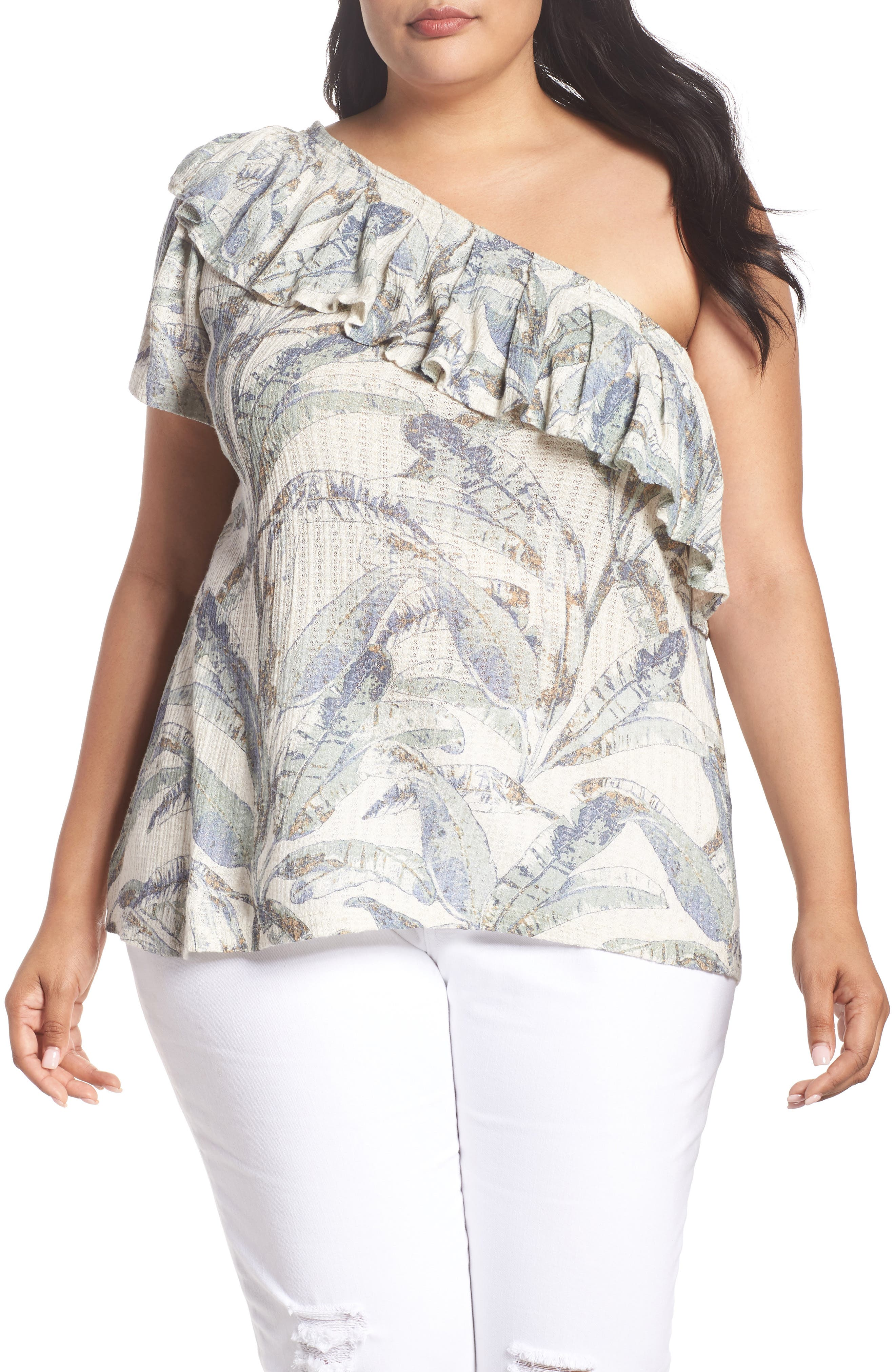 Tropical One-Shoulder Top,                             Main thumbnail 1, color,                             NATURAL MULTI MYSTERY ISLAND