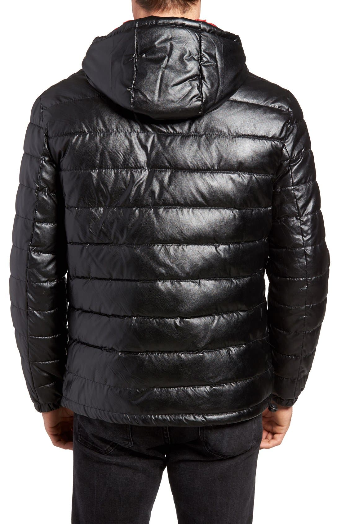 Quilted Faux Leather Hooded Puffer Jacket,                             Alternate thumbnail 2, color,                             BLACK/ RED