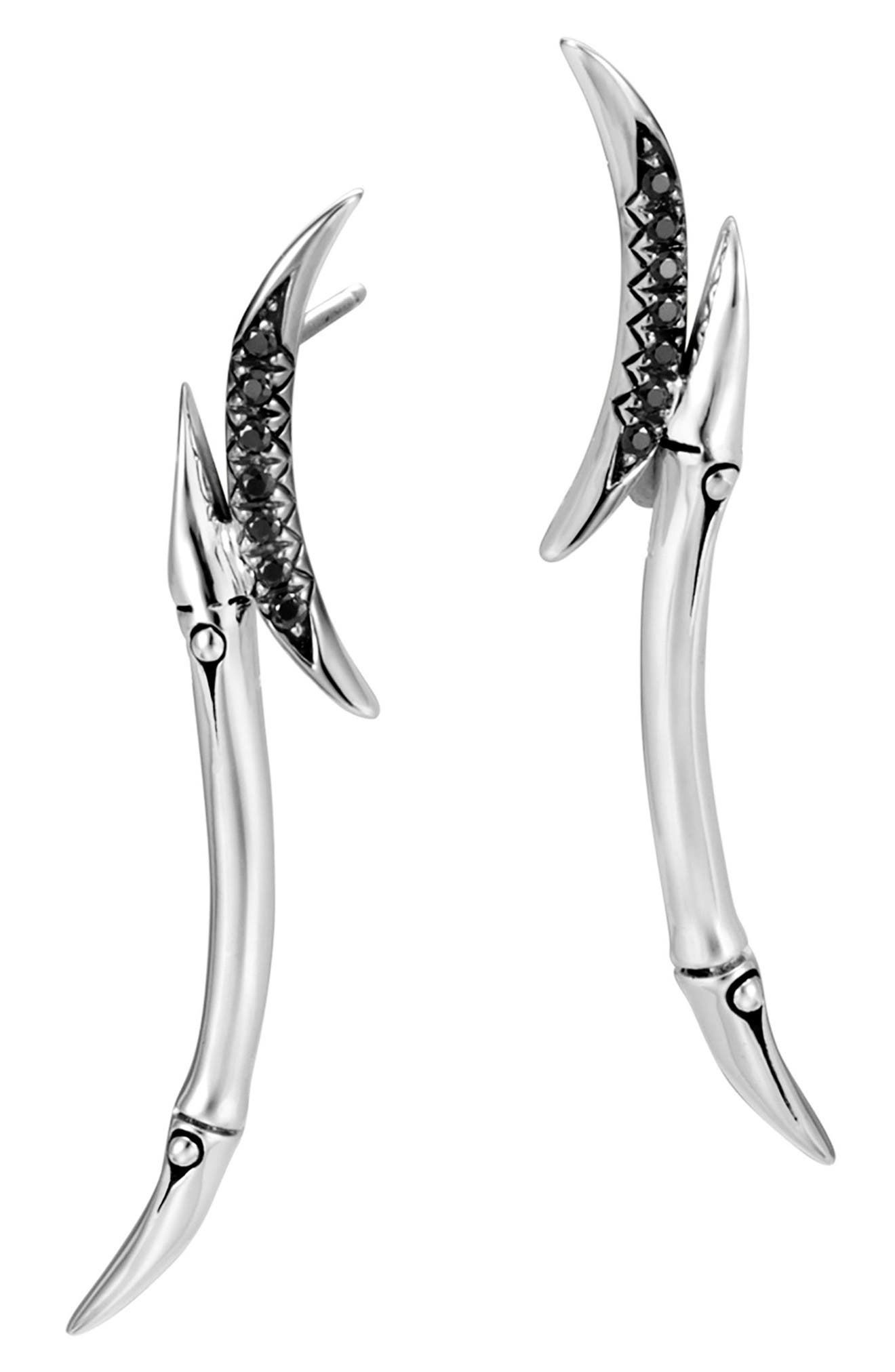 JOHN HARDY Bamboo Black Sapphire & Spinel Drop Earrings, Main, color, SILVER/ BLACK SAPPHIRE