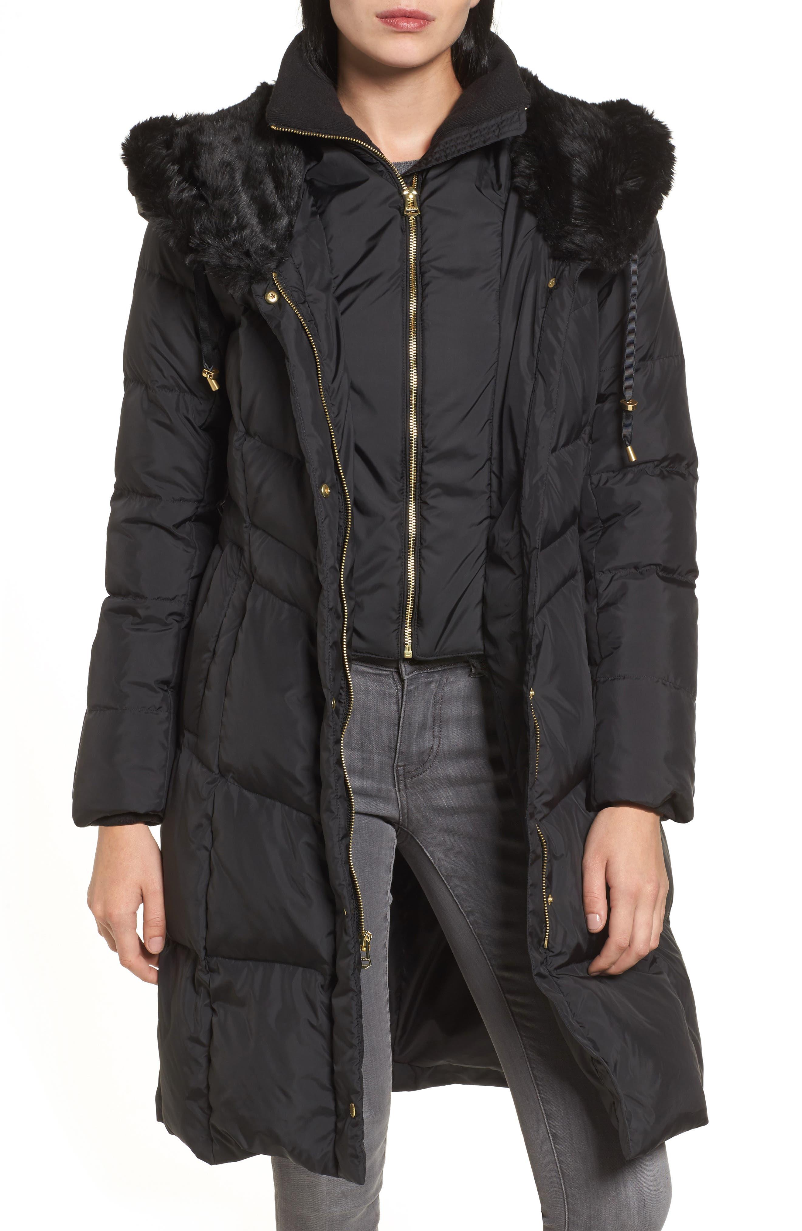 3/4 Down Coat with Faux Fur Hood,                             Alternate thumbnail 4, color,                             001