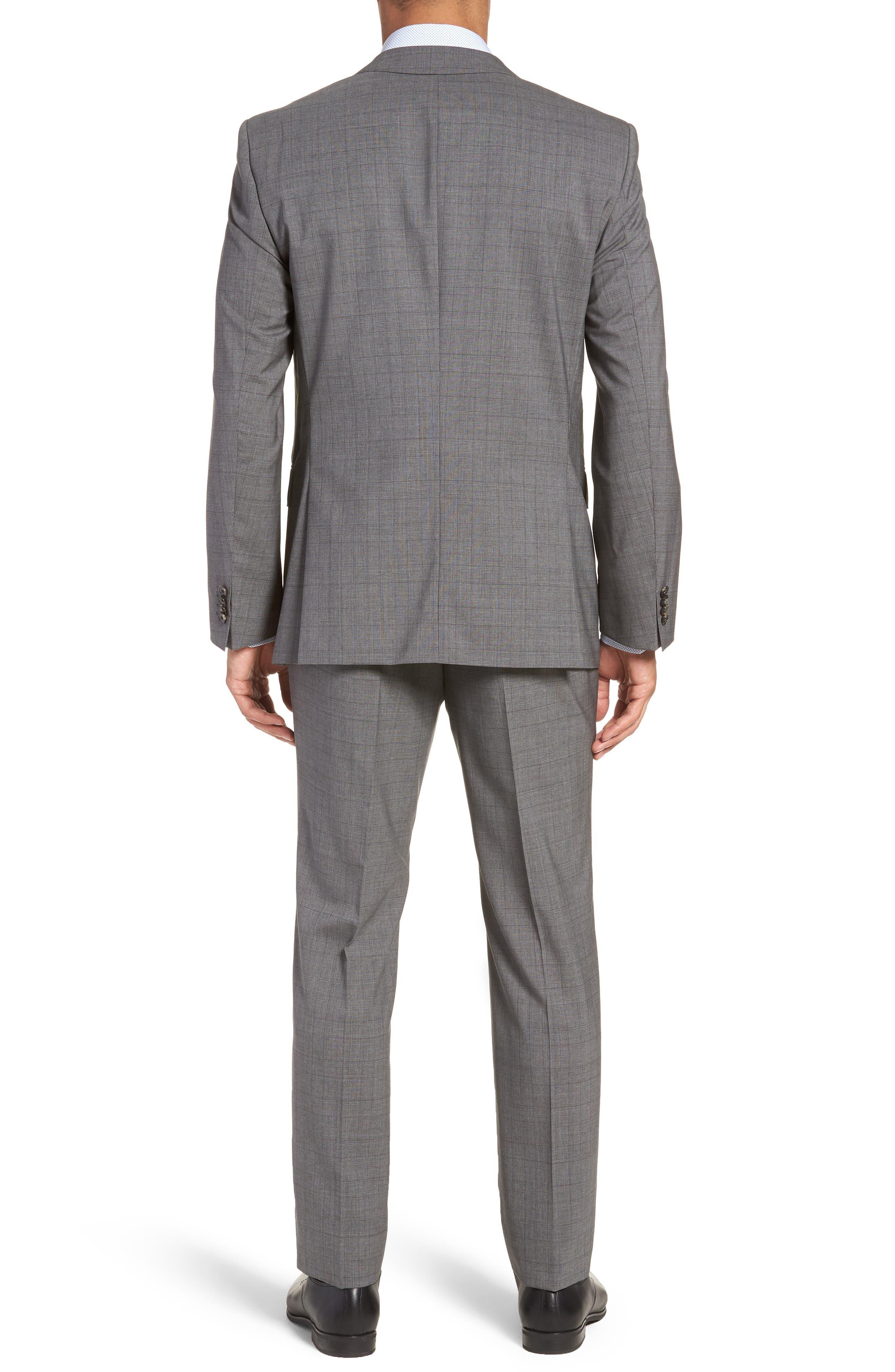 Huge/Genius Trim Fit Plaid Wool Suit,                             Alternate thumbnail 2, color,                             GREY