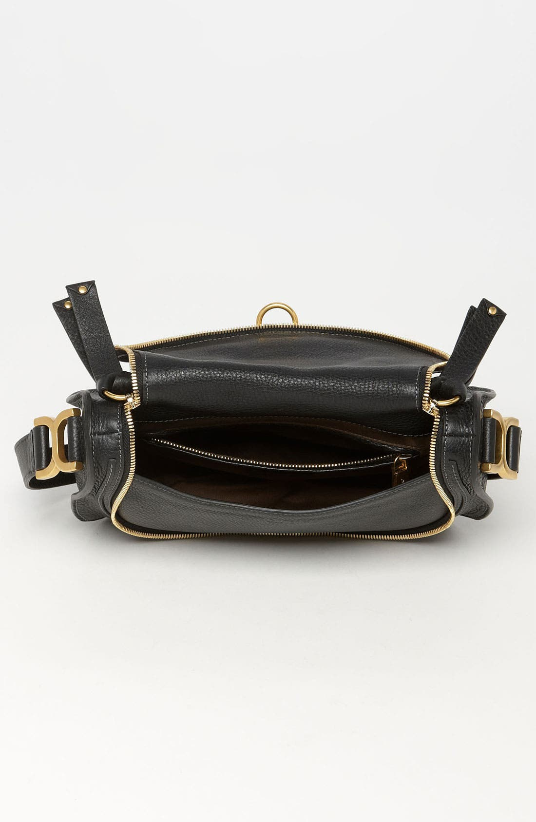 'Marcie' Leather Crossbody Bag,                             Alternate thumbnail 4, color,                             001