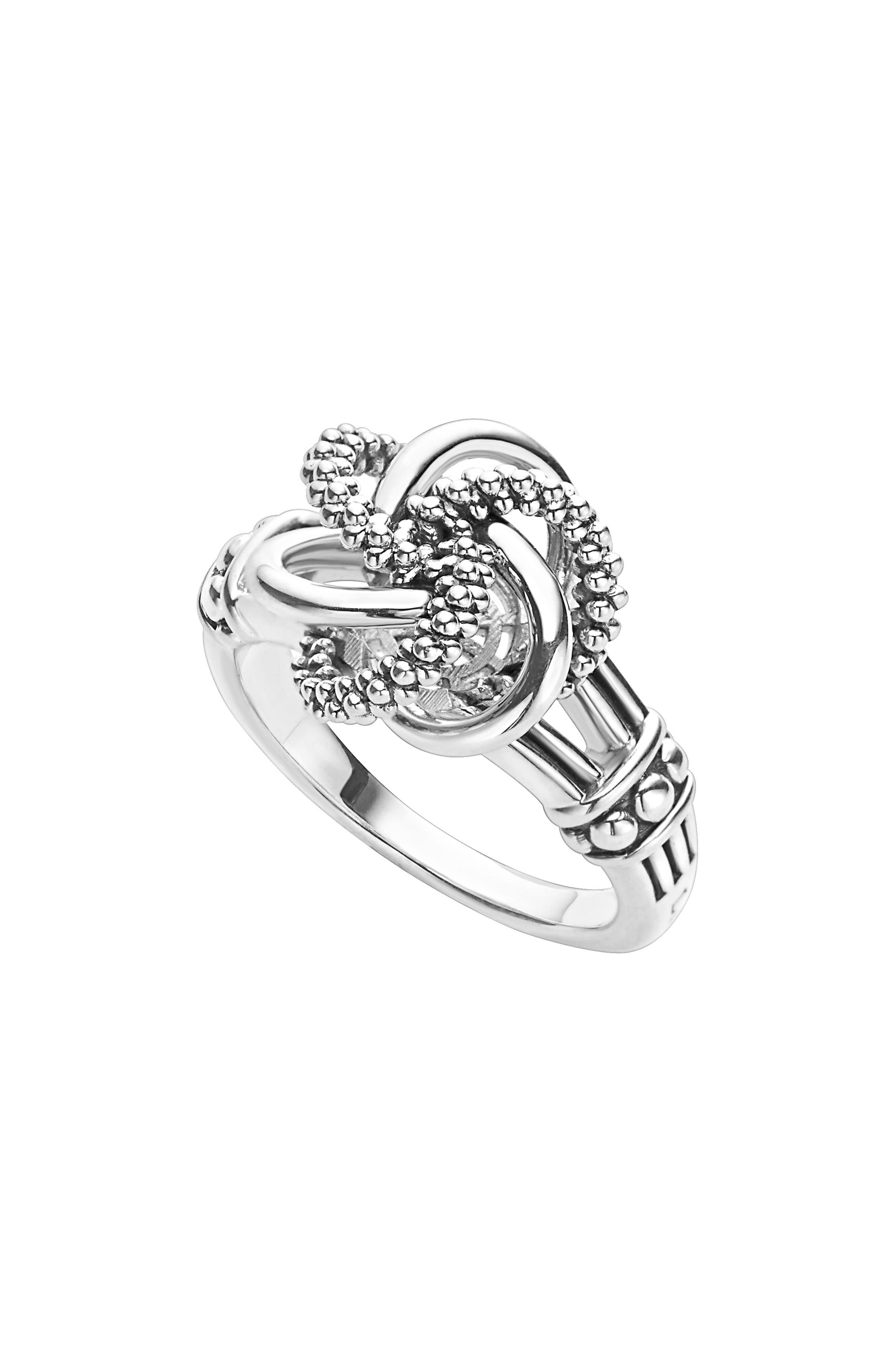 'Love Knot' Ring,                             Main thumbnail 1, color,                             STERLING SILVER