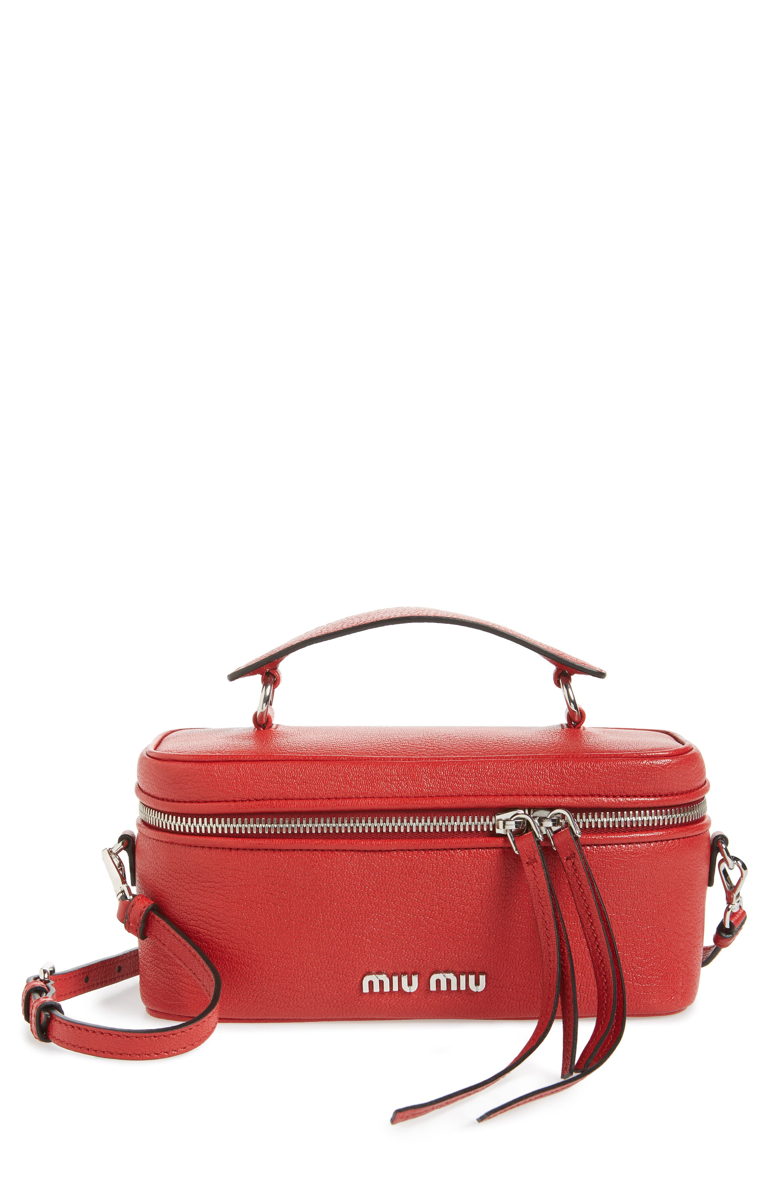MIU MIU Leather Cosmetics Case in Fuoco
