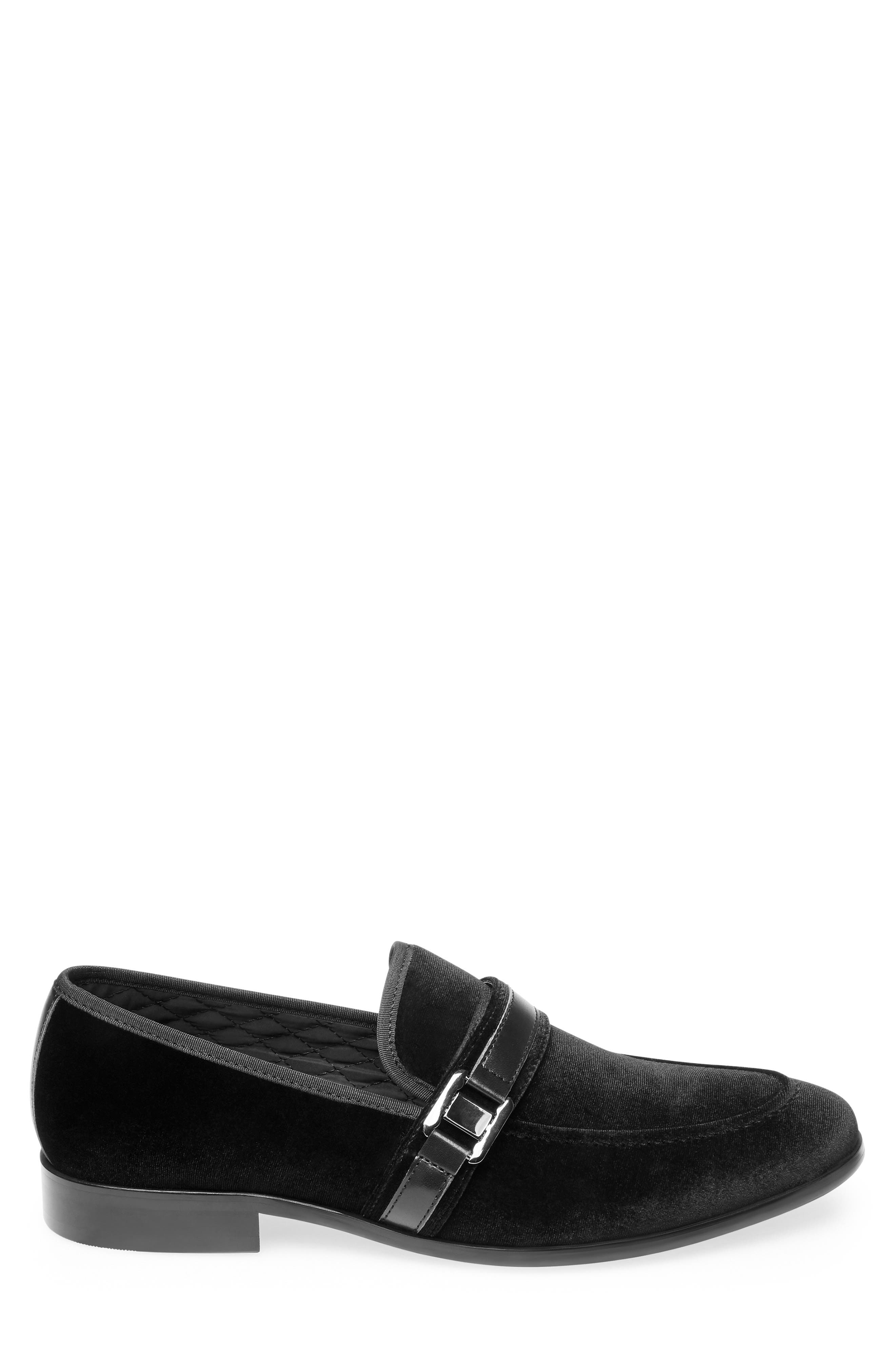 Macklin Bit Loafer,                             Alternate thumbnail 3, color,                             BLACK FABRIC