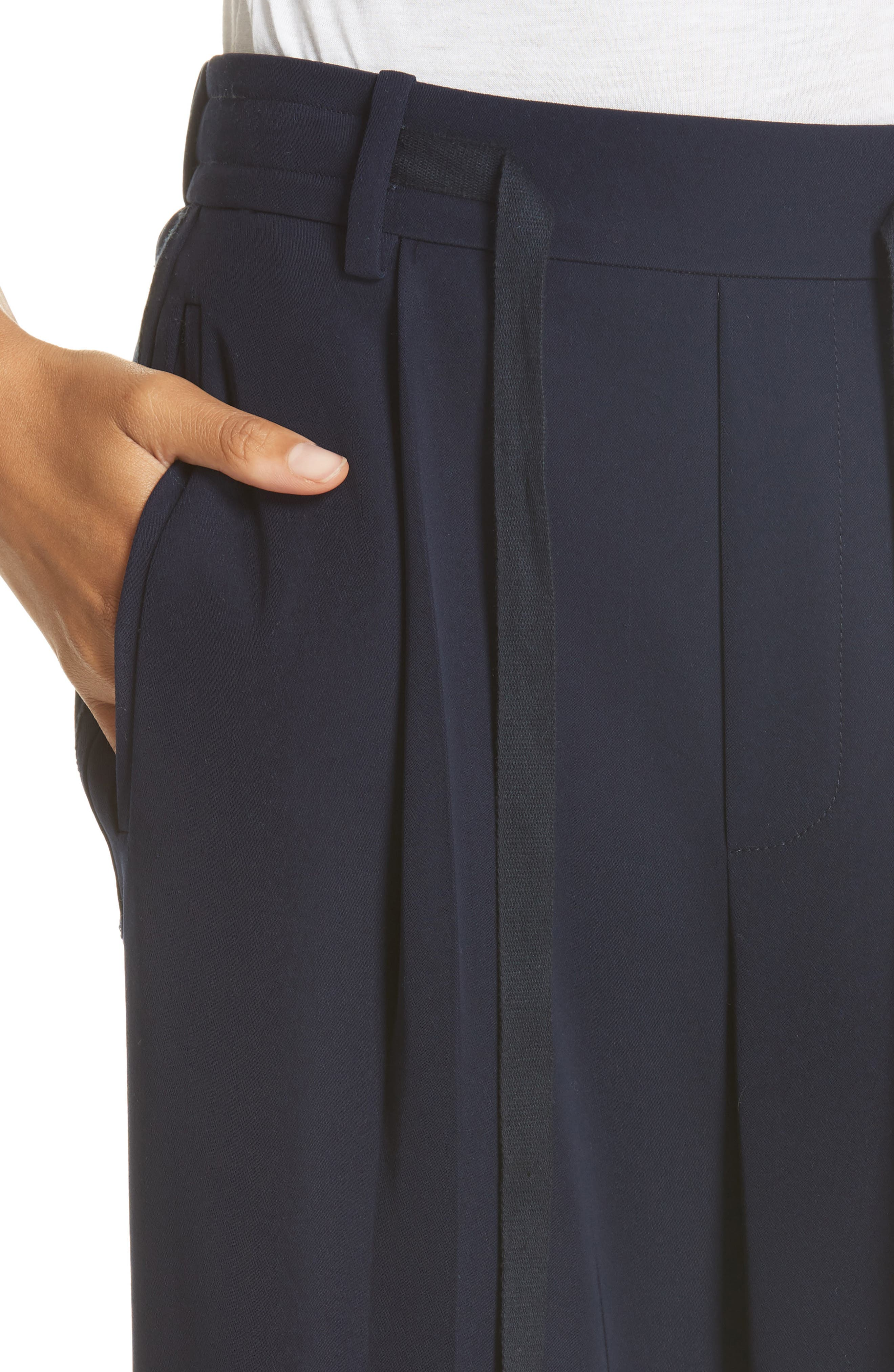 Wide Leg Pull-On Pants,                             Alternate thumbnail 4, color,                             NAVY