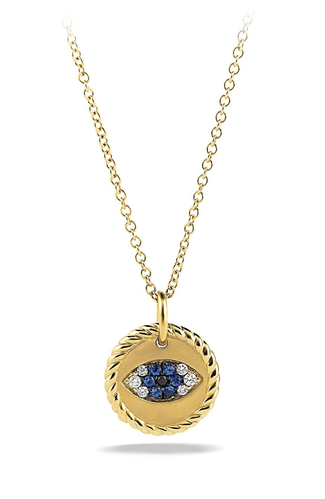 'Cable Collectibles' Evil Eye Charm Necklace with Blue Sapphire, Black Diamonds and Diamonds in Gold,                         Main,                         color, BLUE SAPPHIRE/ DIAMOND