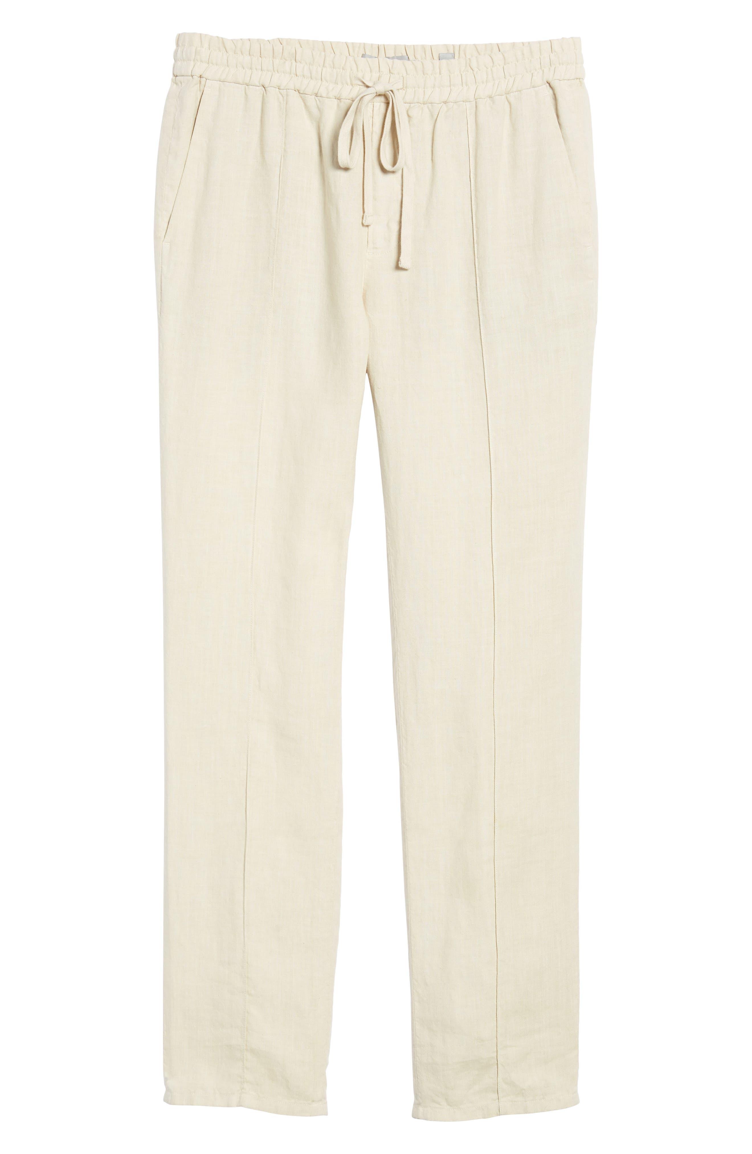Pintuck Slim Fit Hemp Track Pants,                             Alternate thumbnail 6, color,                             WHITE SAND