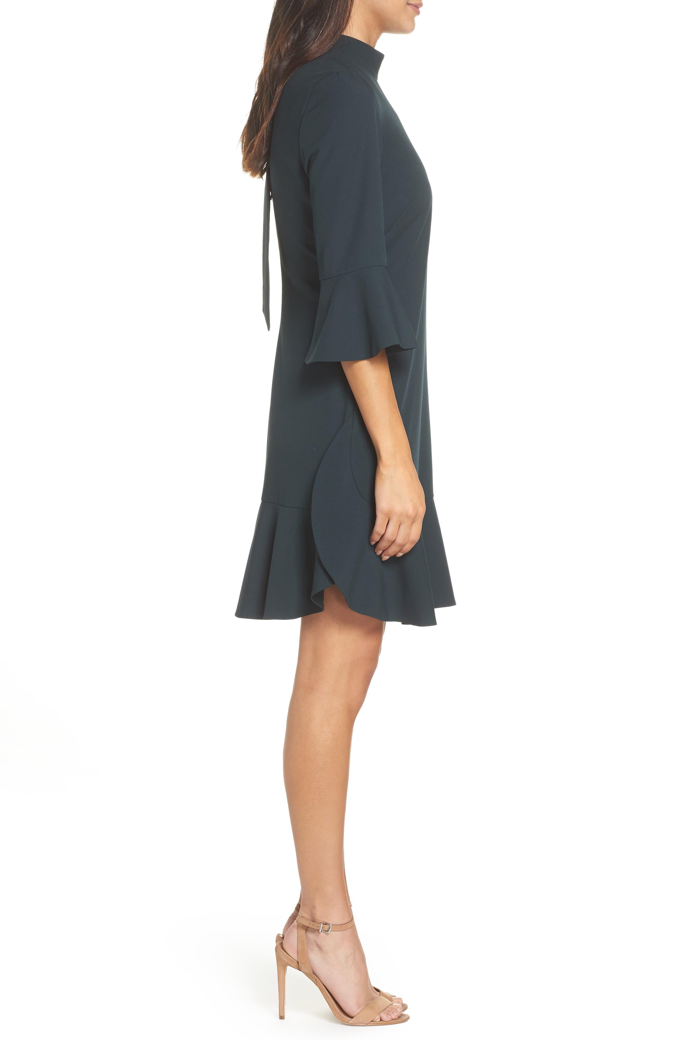 Bell Sleeve Dress,                             Alternate thumbnail 3, color,                             GREEN BUG