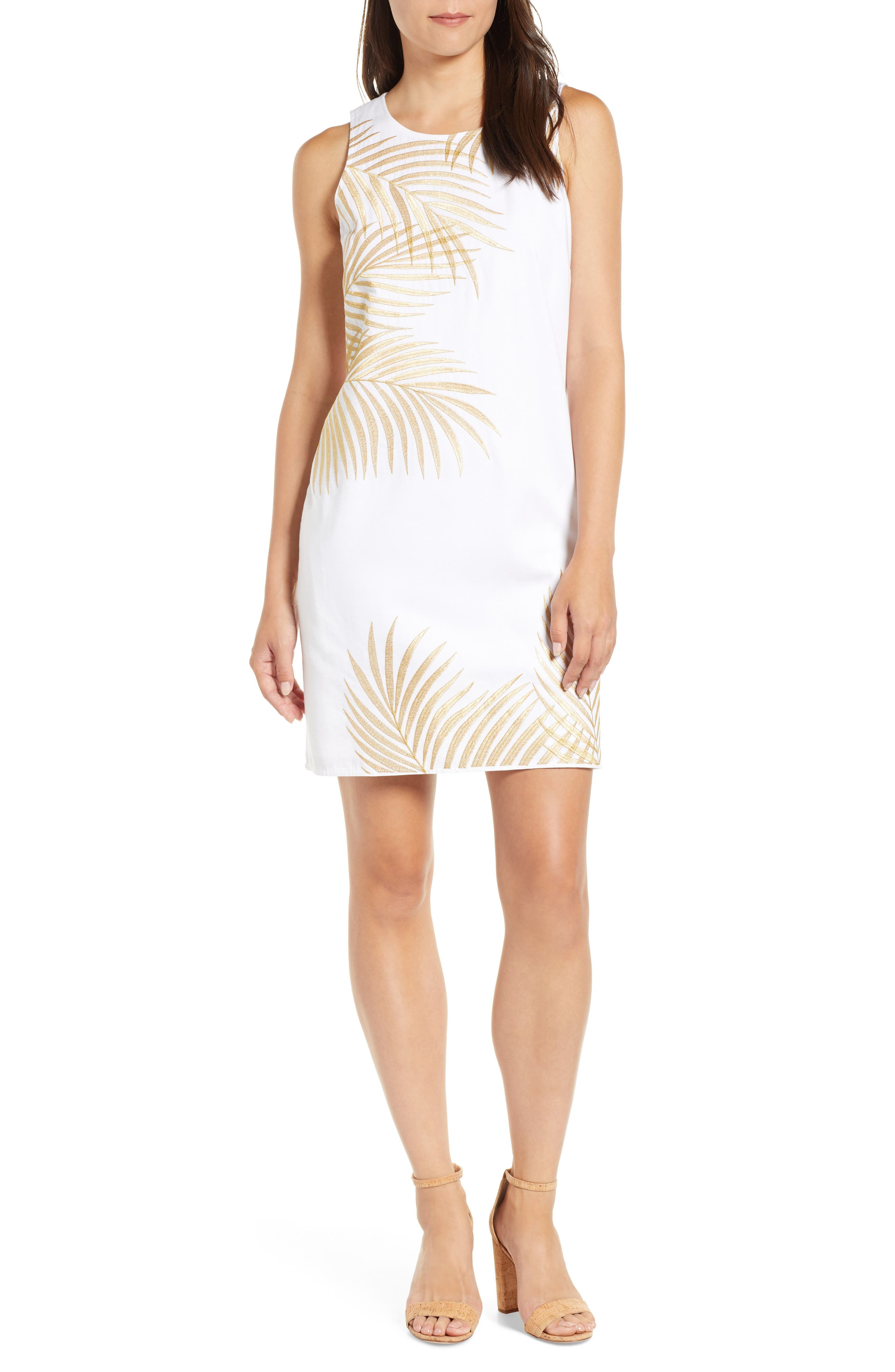 Tommy Bahama Lanailette Embroidered Shift Dress, White