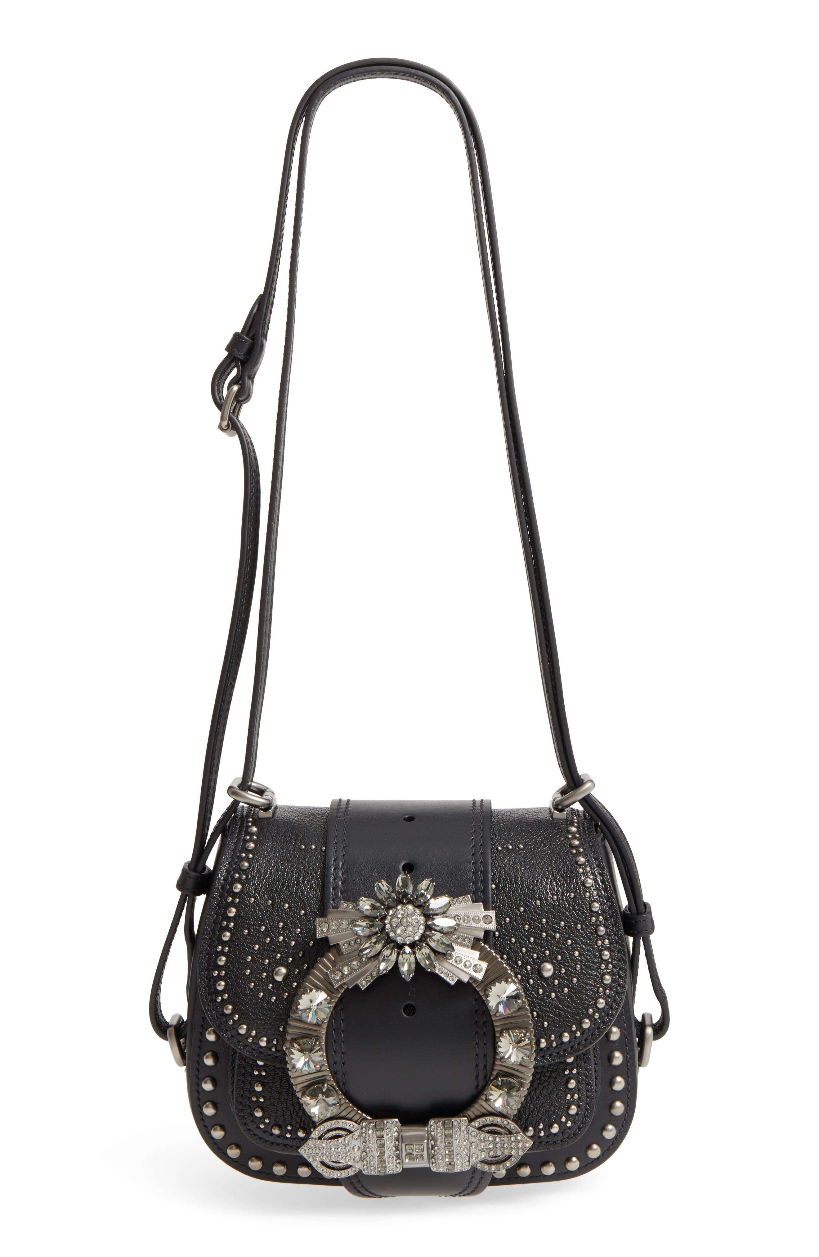 Dahlia Leather Shoulder Bag,                         Main,                         color, NERO