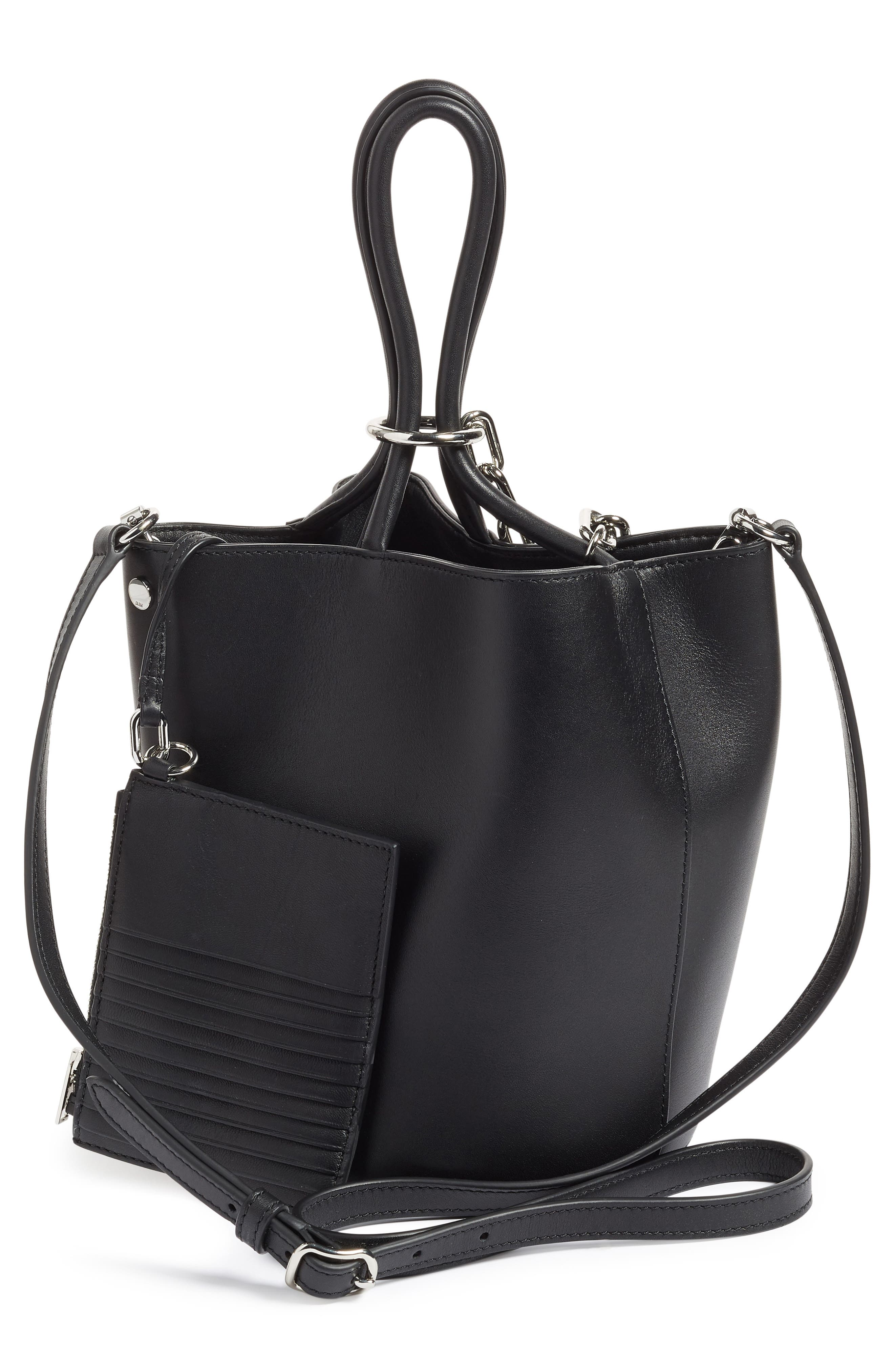 Roxy Leather Bucket Bag,                             Alternate thumbnail 3, color,