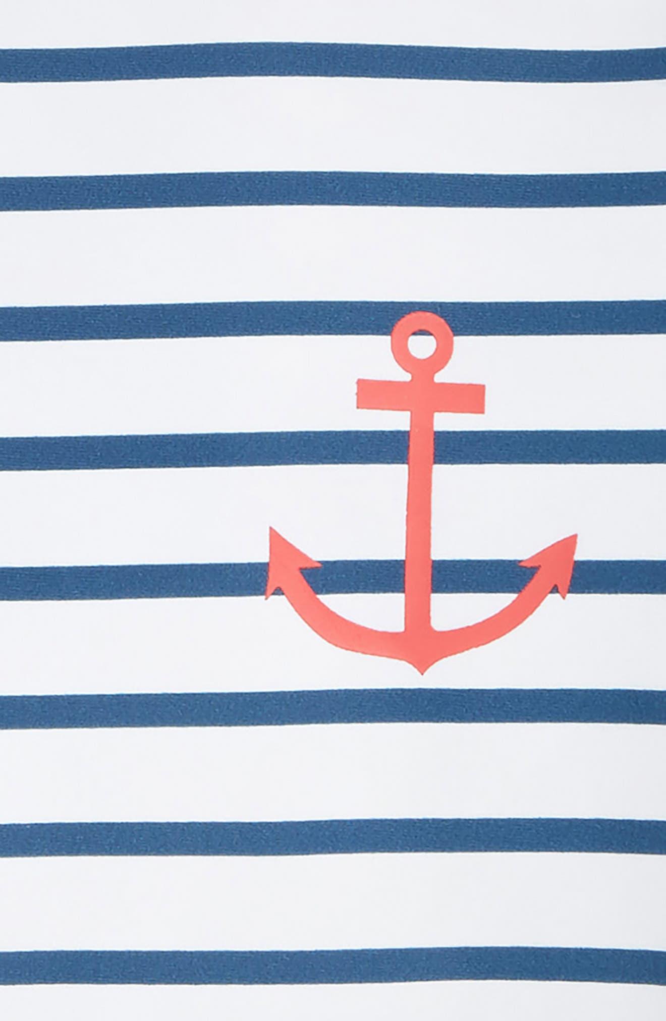 Nautical Stripes One-Piece Rashguard Swimsuit,                             Alternate thumbnail 2, color,                             WHITE